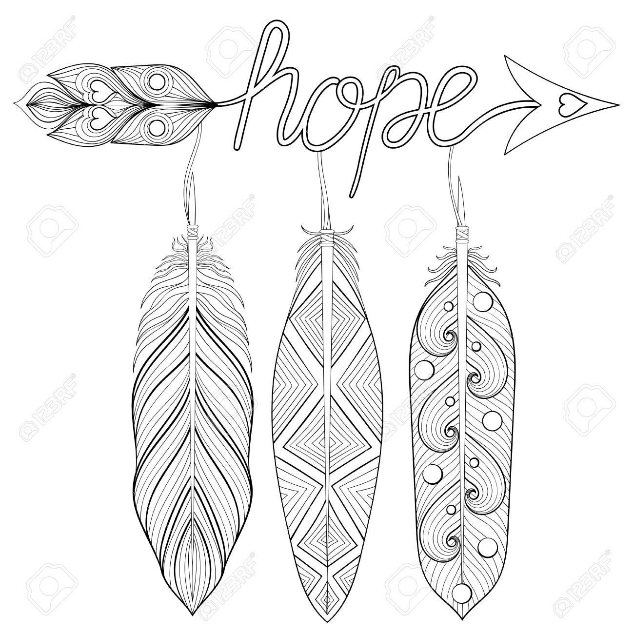 Bohemian Arrow, Hand Drawn Amulet With Letters Hope, With Feather ...