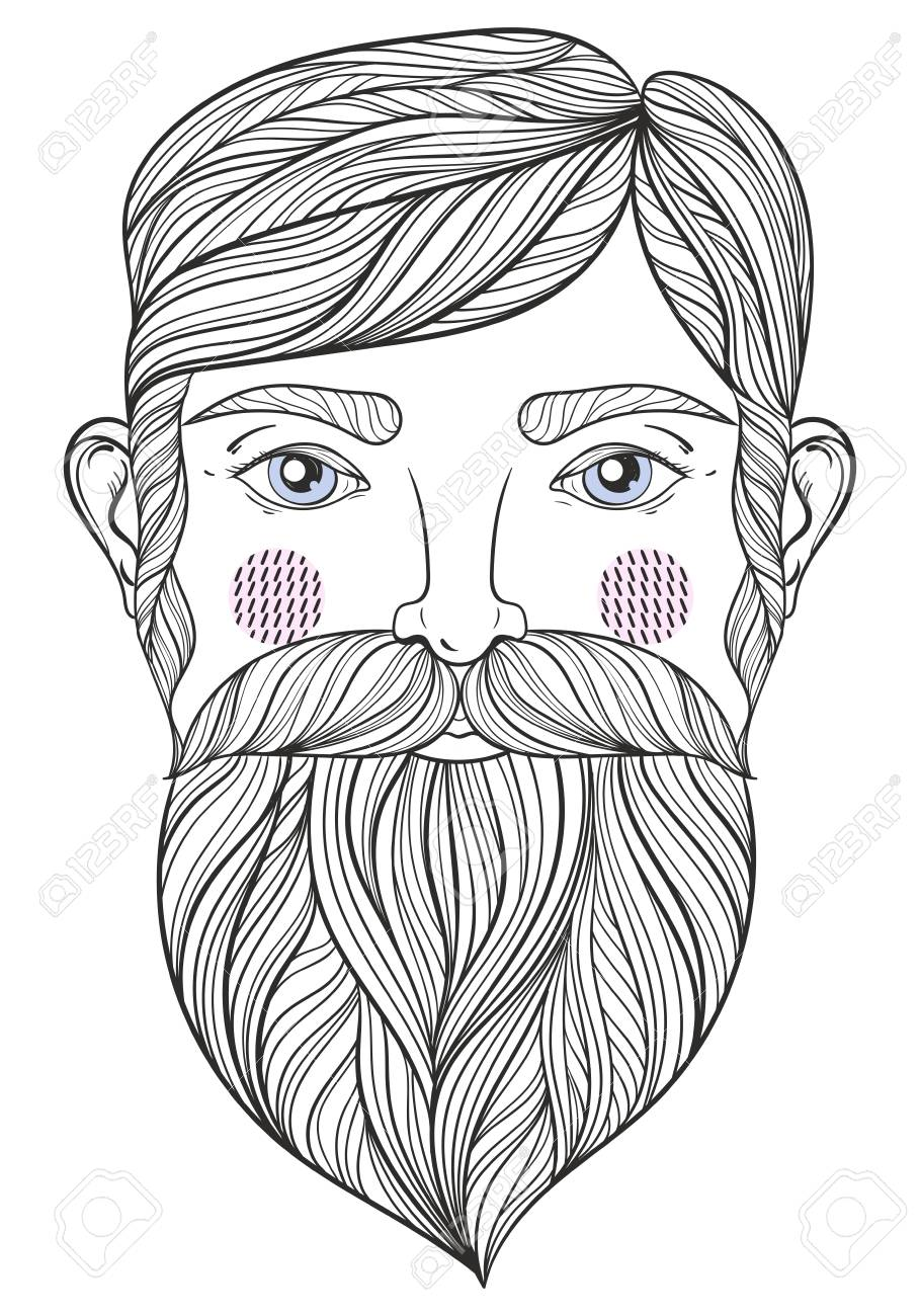 Vector Portrait Of Bearder Man With Mustache For Adult Coloring ...