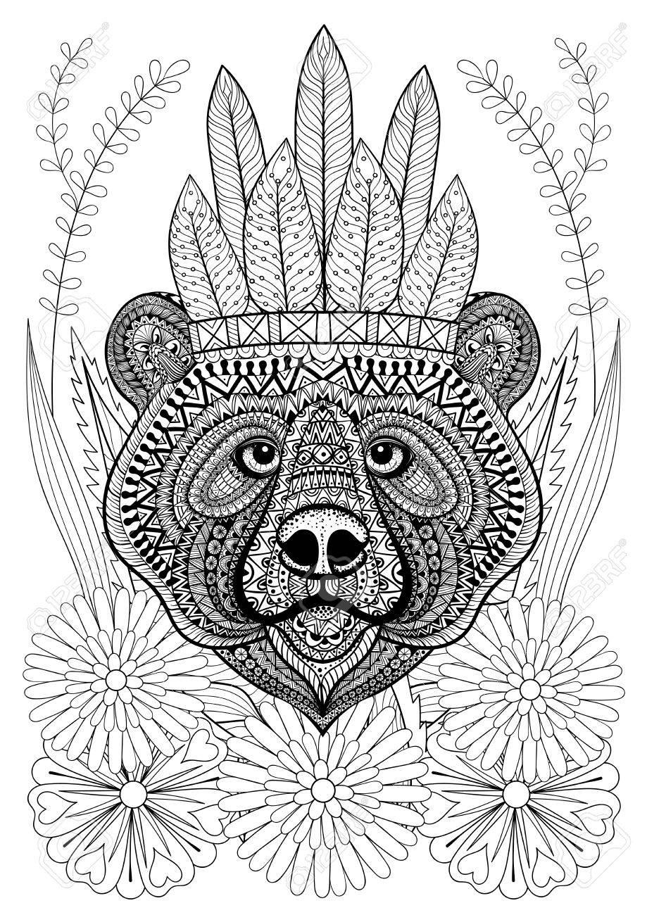 Stylized Bear With War Bonnet On Flowers. Hand Drawn Ethnic Animal ...