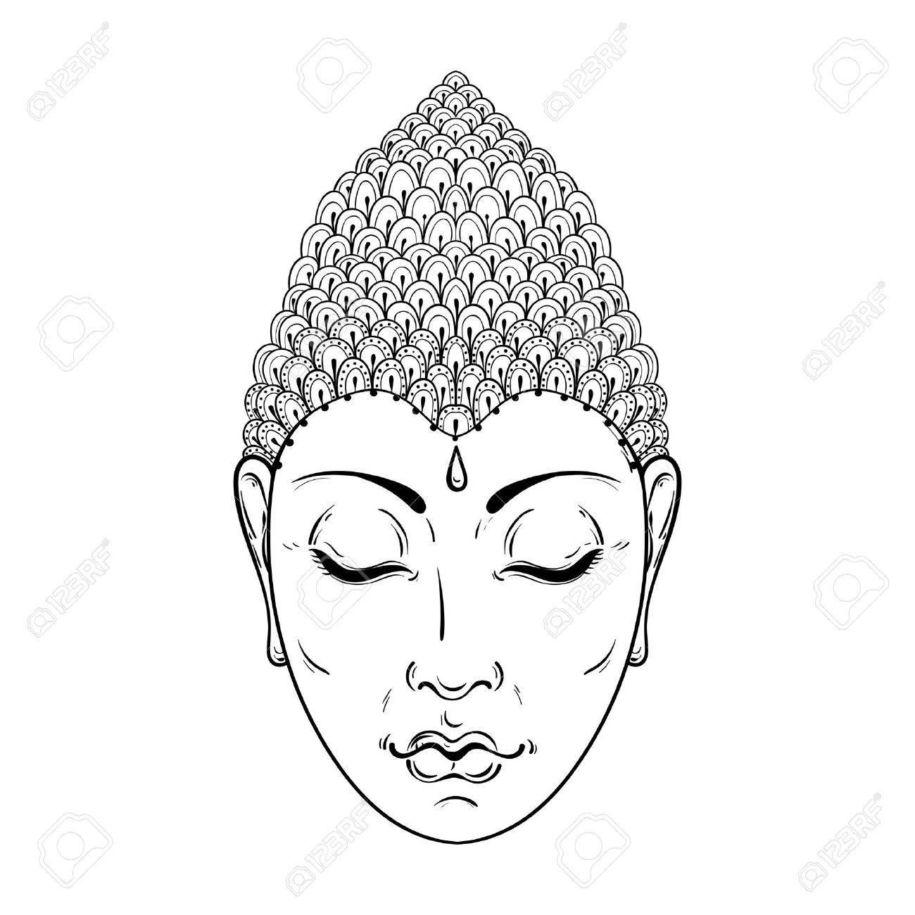 Vector Retrato De Buda Para Colorear Adultos Ornamental, El Arte Del ...