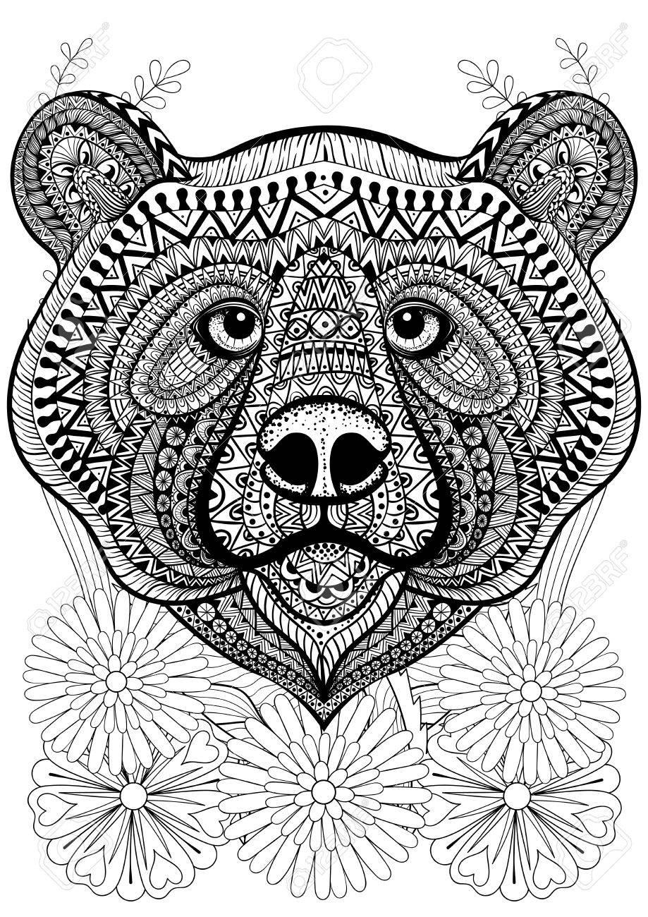 Zentangle Stylized Bear Face On Flowers. Hand Drawn Ethnic Animal ...