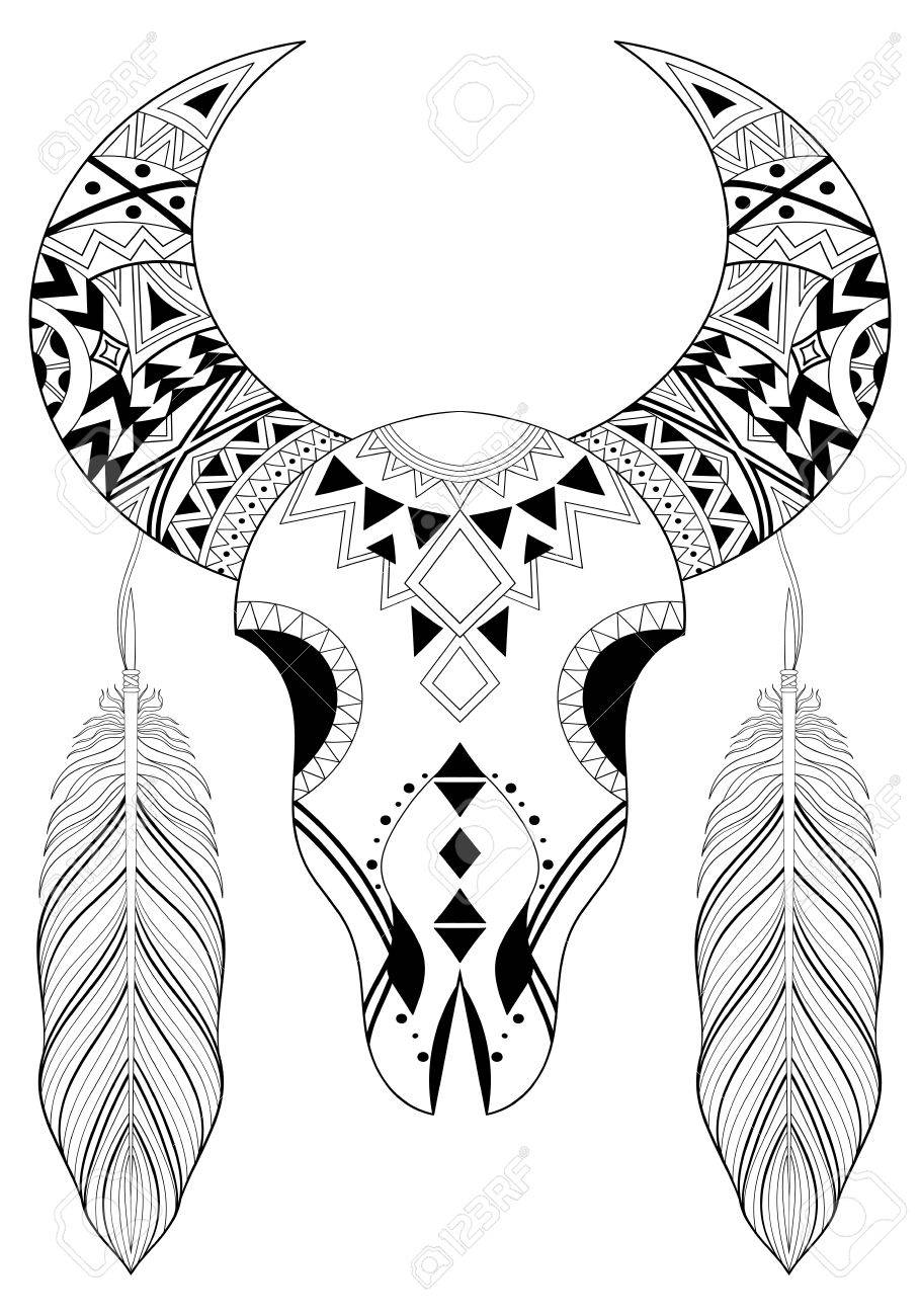 Stylized Animal Skull With Boho Feathers Hand Drawn Ethnic For Adult Coloring Pages