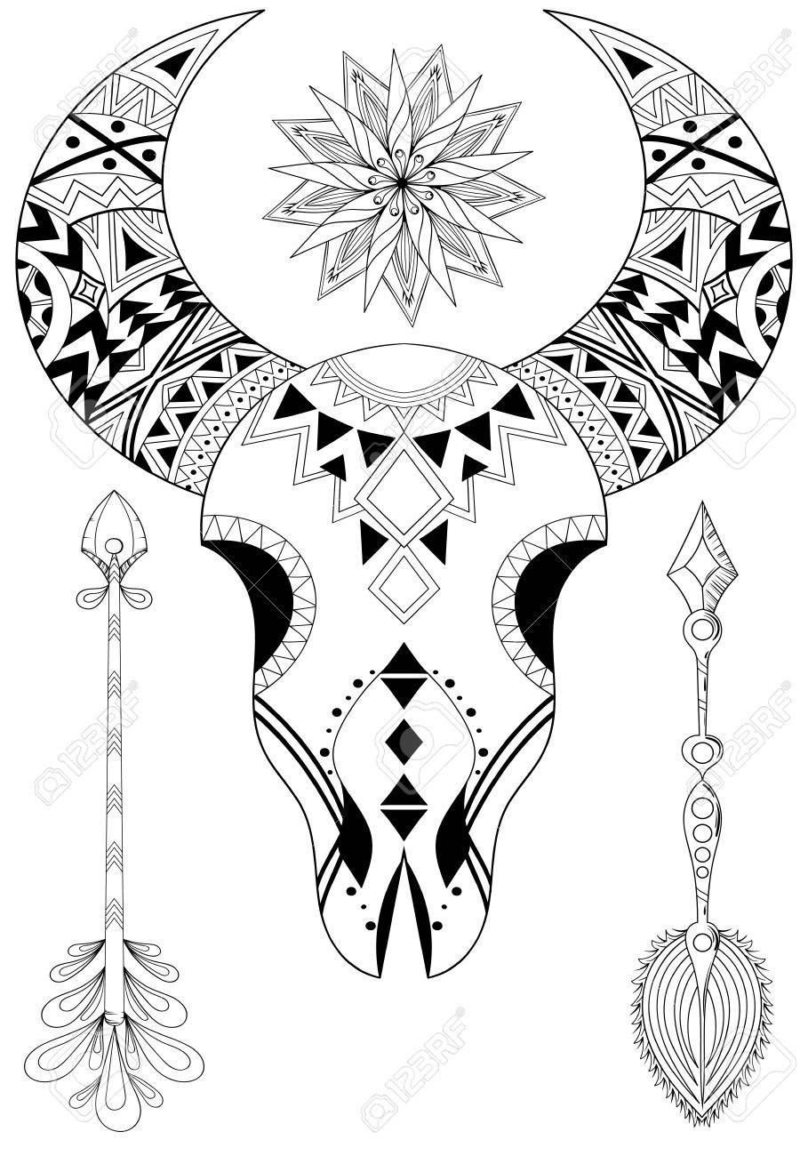 Animal Skull With Sun And Arrows Hand Drawn Ethnic Tattoo For