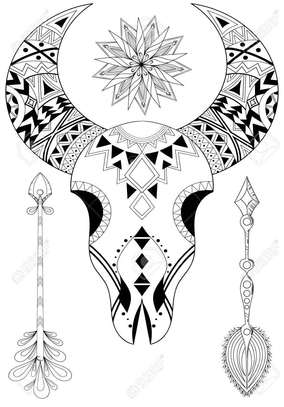 Cráneo Animal Con Sun Y Flechas Dibujado A Mano Tatuaje étnica Para