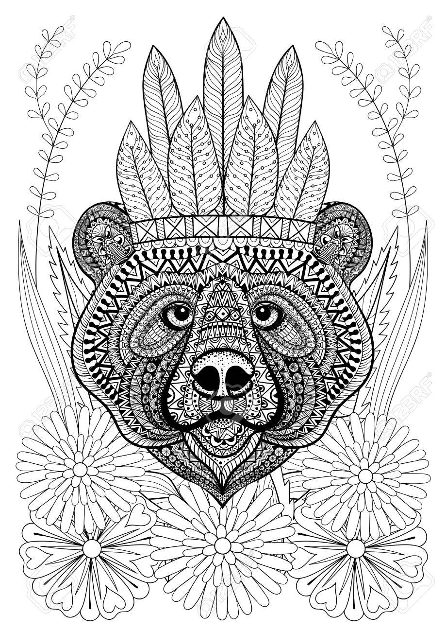 Stylized Bear With War Bonnet On Flowers Hand Drawn Ethnic Animal