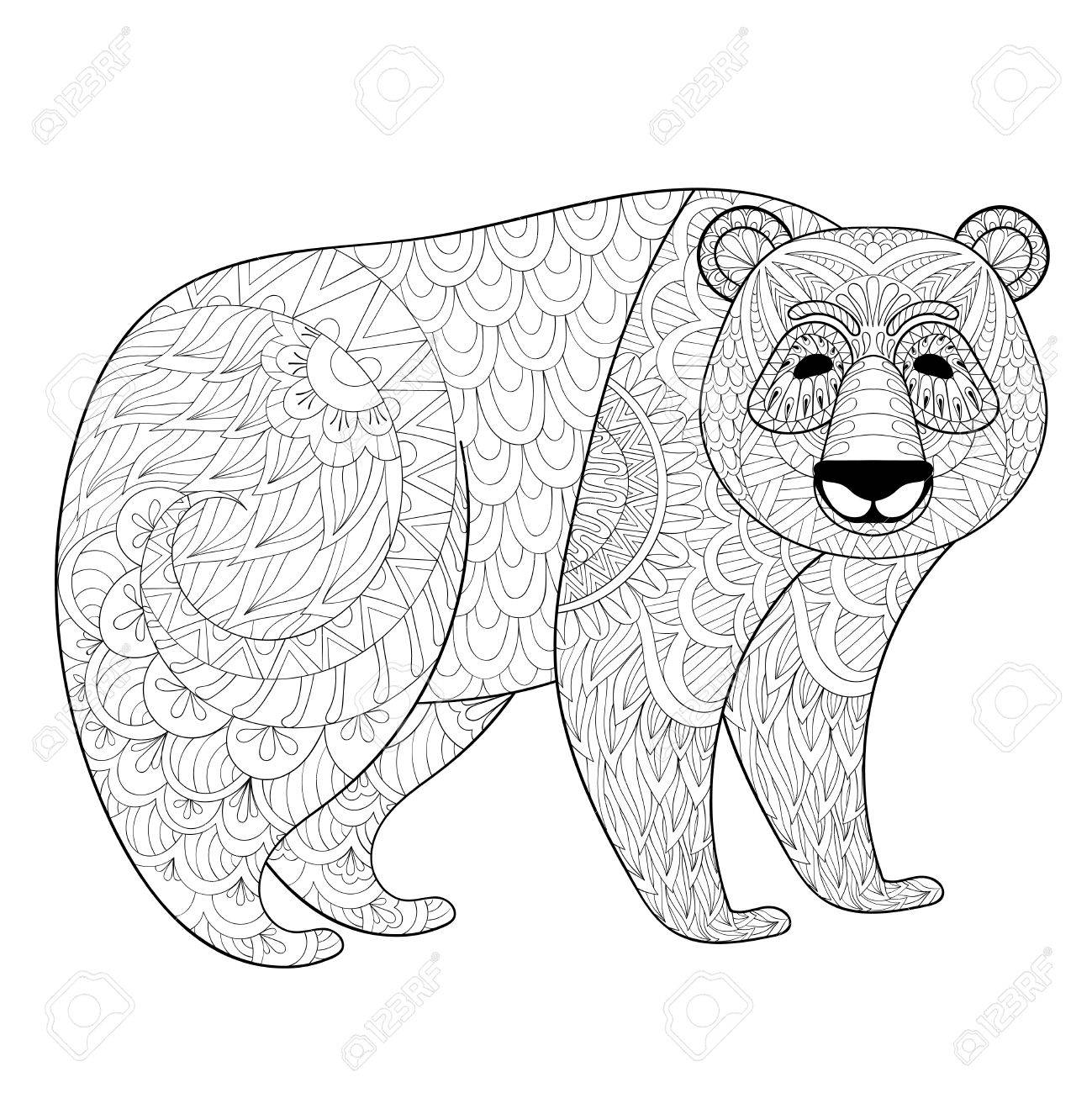 796a51b6bd468 Big Panda in zentangle, tribal style. Freehand ethnic sketch for adult  coloring book with