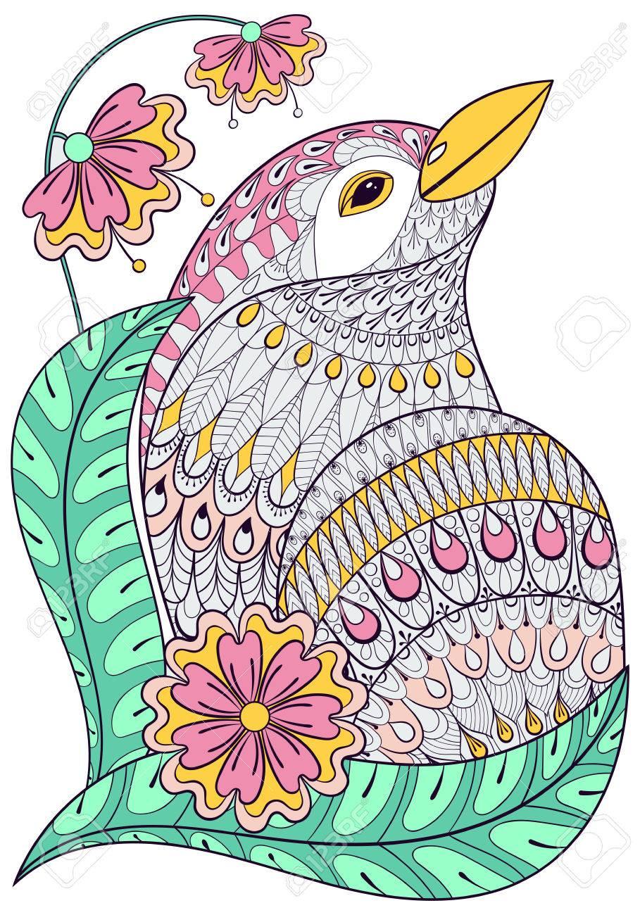 Exotischer Vogel In Bunten Blumen Hand Gezeichnet Ethnischen Tier