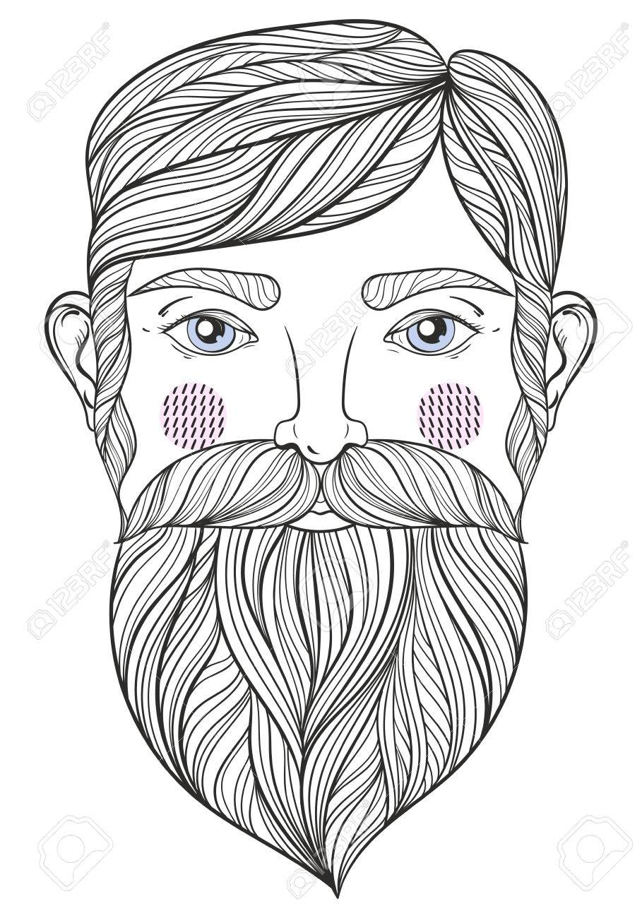 adult coloring pages for men Vector Zentangle Portrait Of Bearder Man With Mustache For Adult  adult coloring pages for men