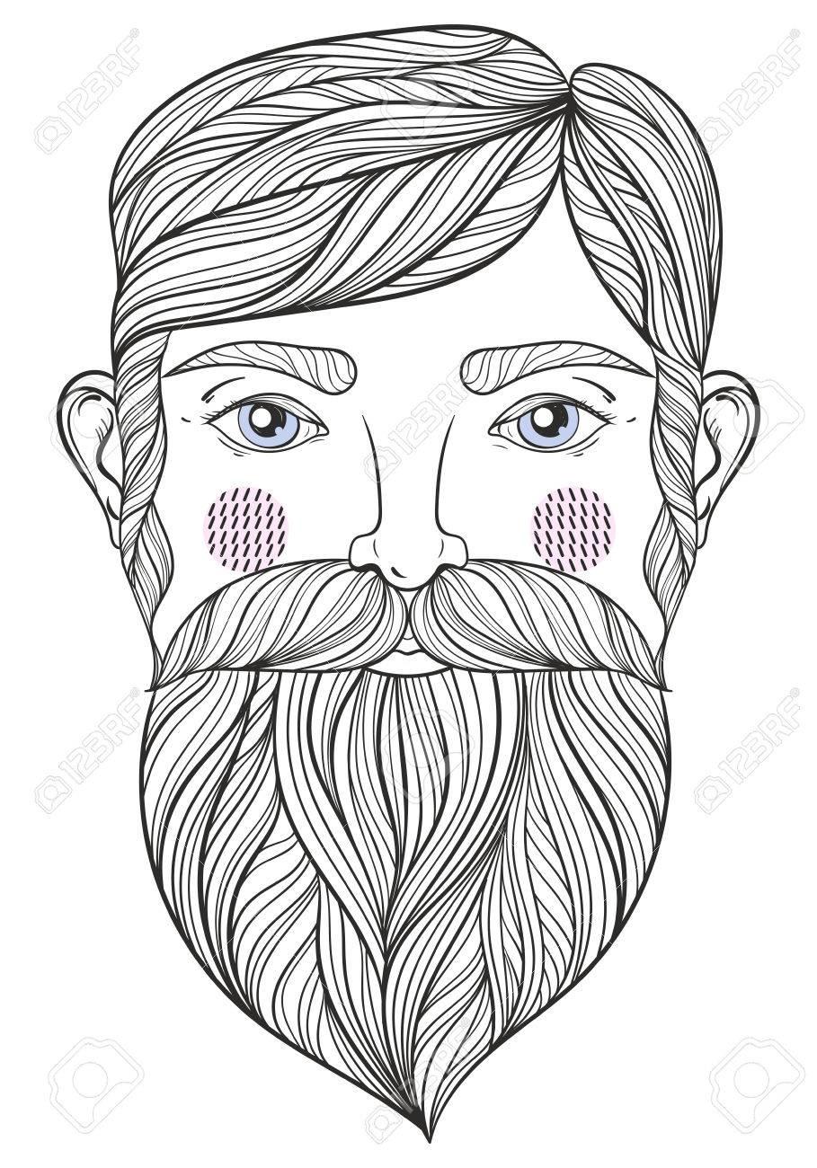 Vector Zentangle Retrato De Hombre Con El Bigote Bearder Para ...