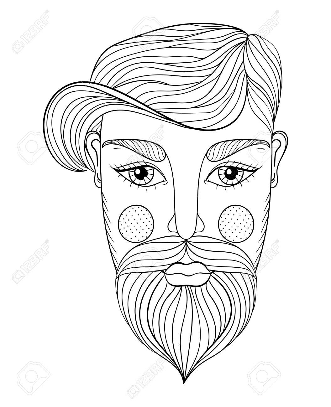 Coloriage Anti Stress Visage.Vector Xentangle Portrait De L Homme Visage Avec Moustache Et La Barbe Pour Les Pages A Colorier Antistress Adulte Art Du Tatouage Ethnique Motif