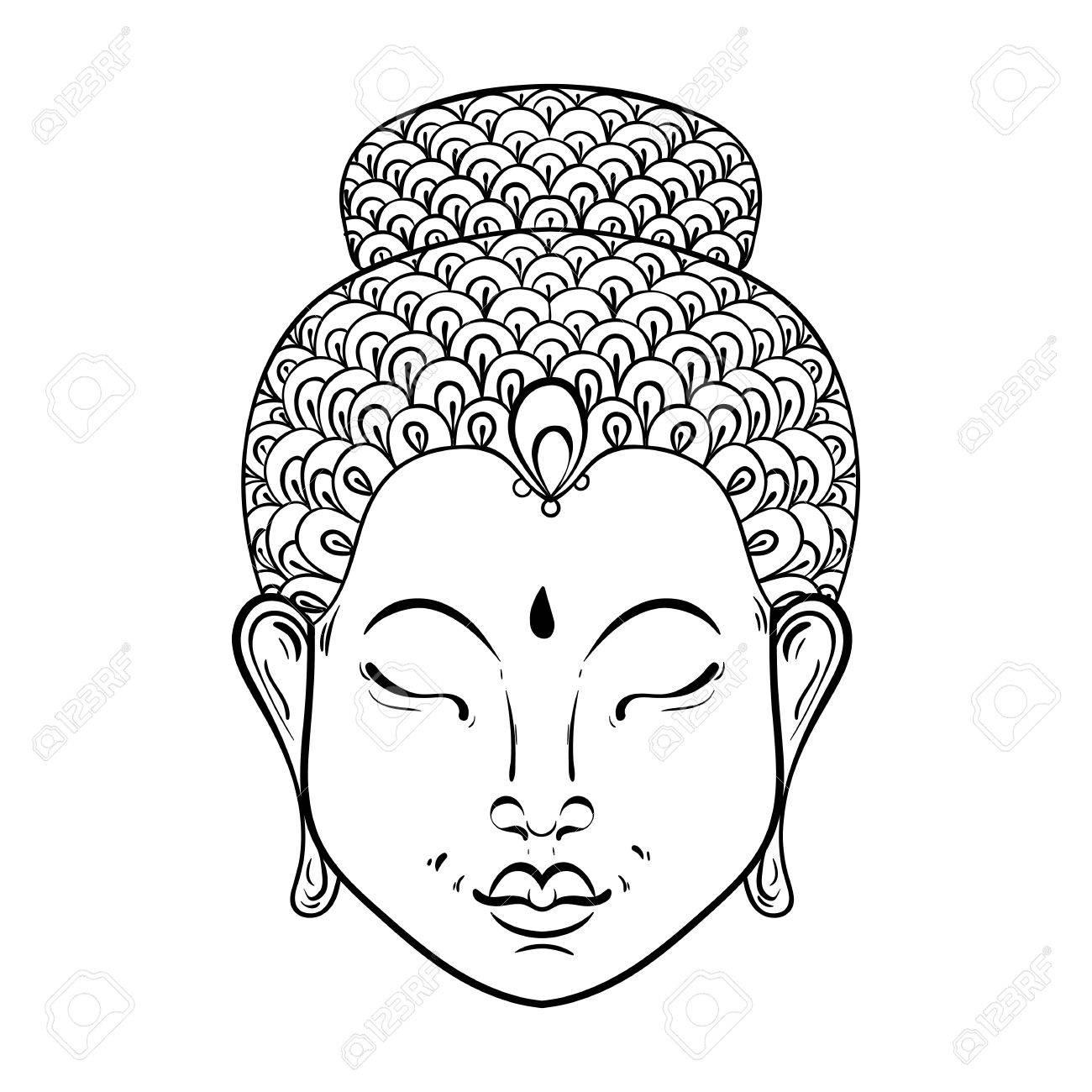 Vector Artísticamente Retrato De Buda Para Colorear Adultos ...
