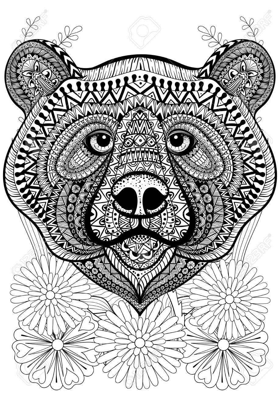 Stilisierte Bärengesicht Auf Blumen Hand Gezeichnet Ethnischen Tier