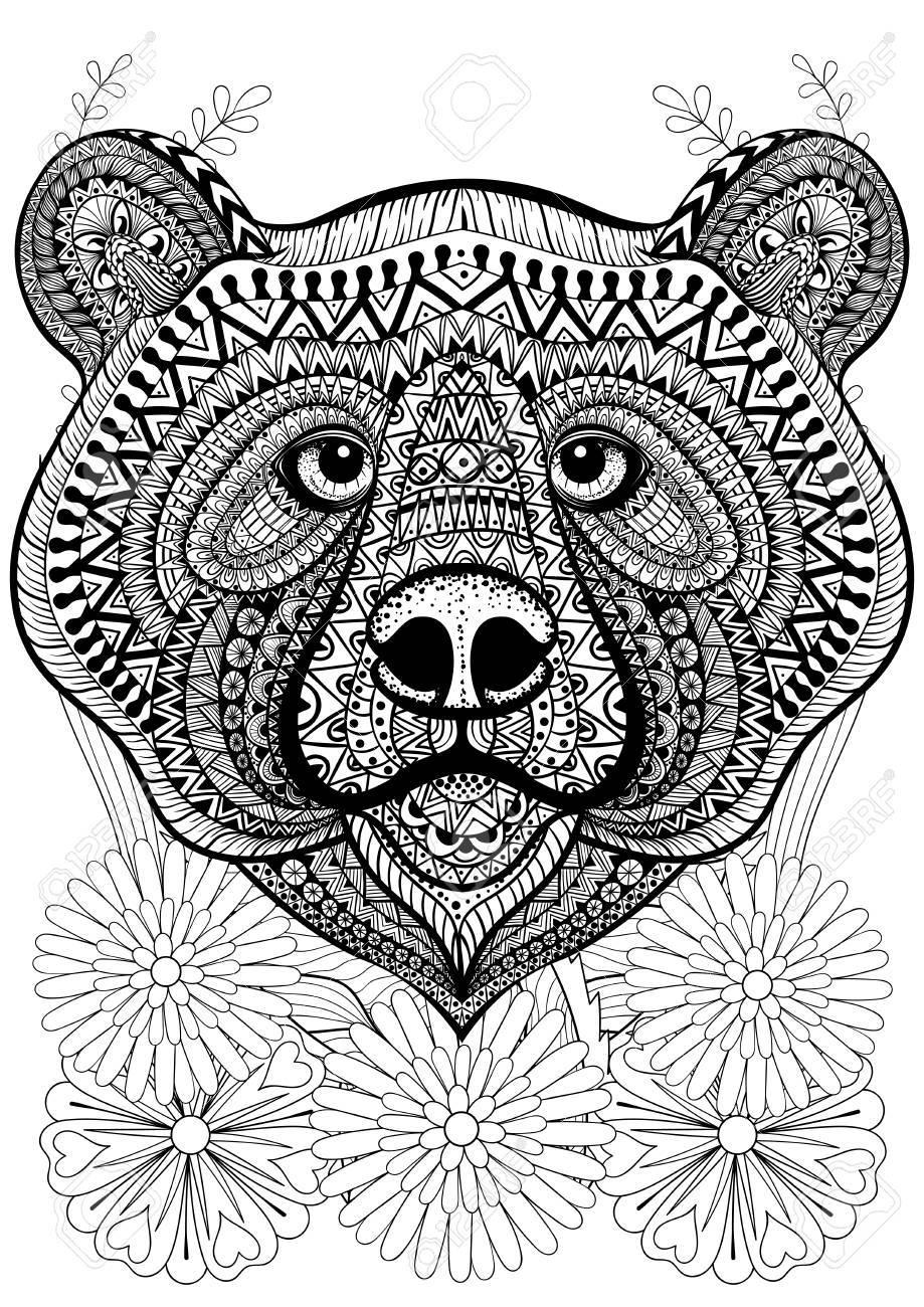hand drawn ethnic animal for adult coloring pages art