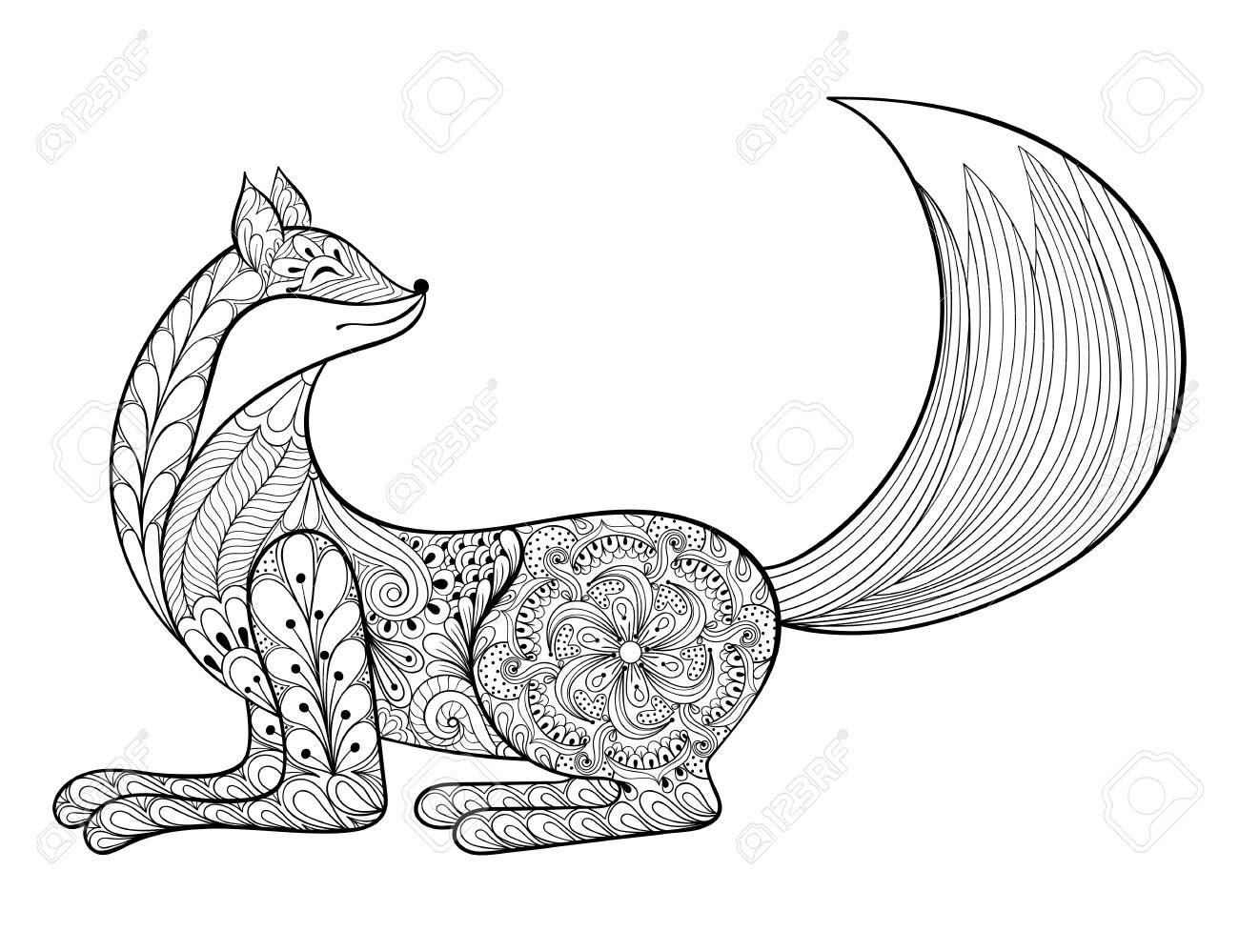 Vector Fox. Dibujado A Mano Animal Artístico Para Colorear Adultos ...
