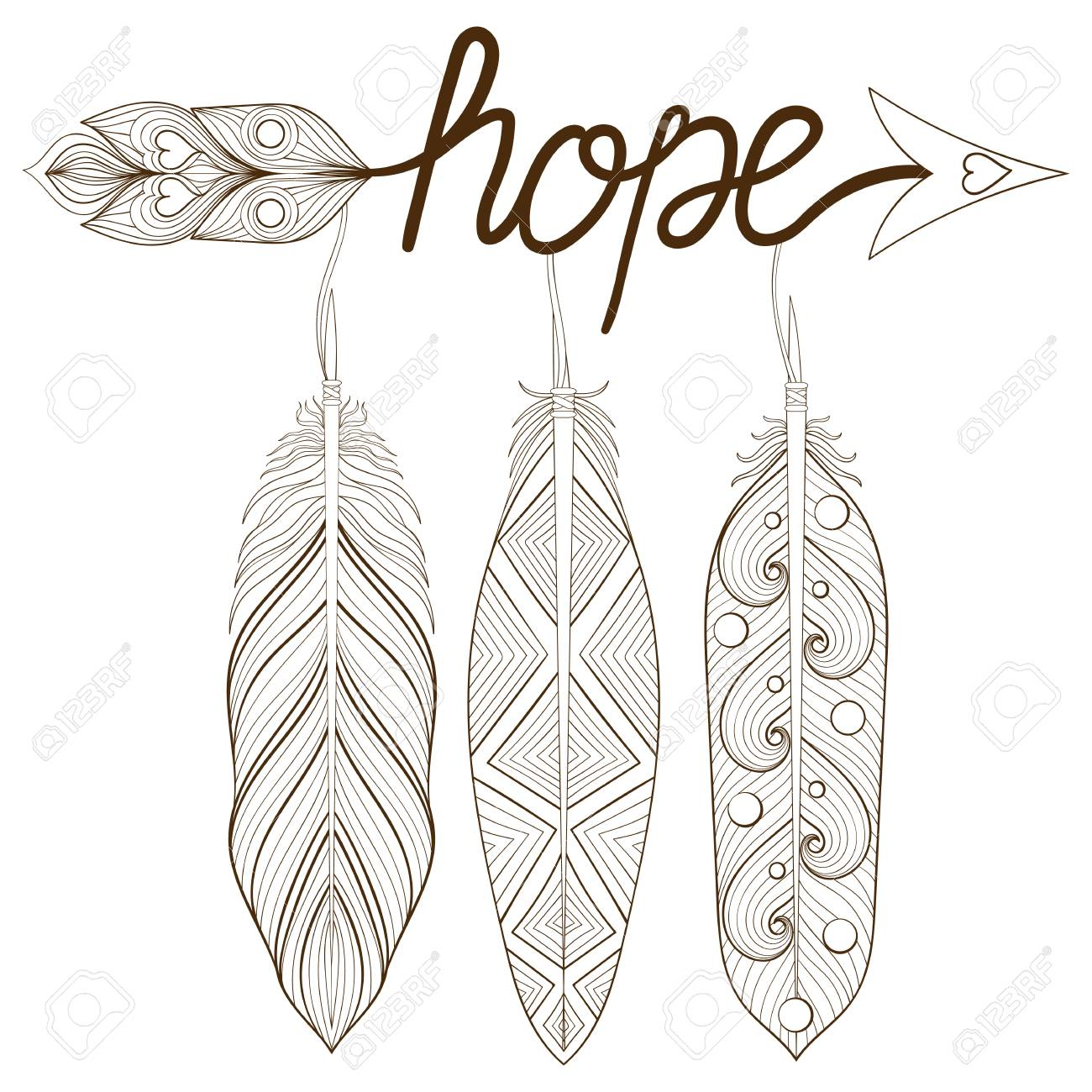 Bohemian Arrow, Hand Drawn Amulet, Letters Hope With Henna Feathers ...