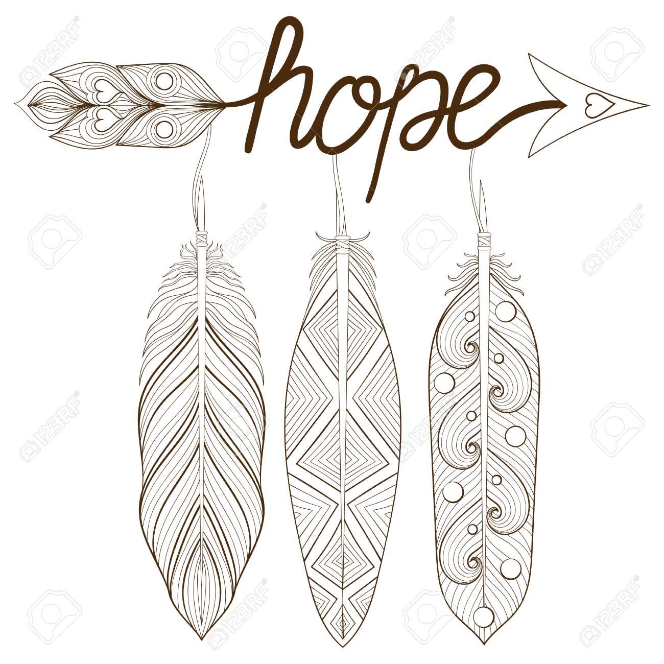 Freccia Di Boemia Amuleto Disegnato A Mano Lettere Di Speranza Con Piume Di Henné Frecce Decorative Per Pagine Da Colorare Per Adulti Stampa