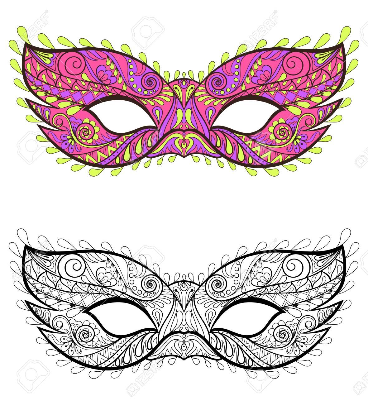 Máscaras Festivas De Bohemia Conjunto. Elementos Carnavalescos ...