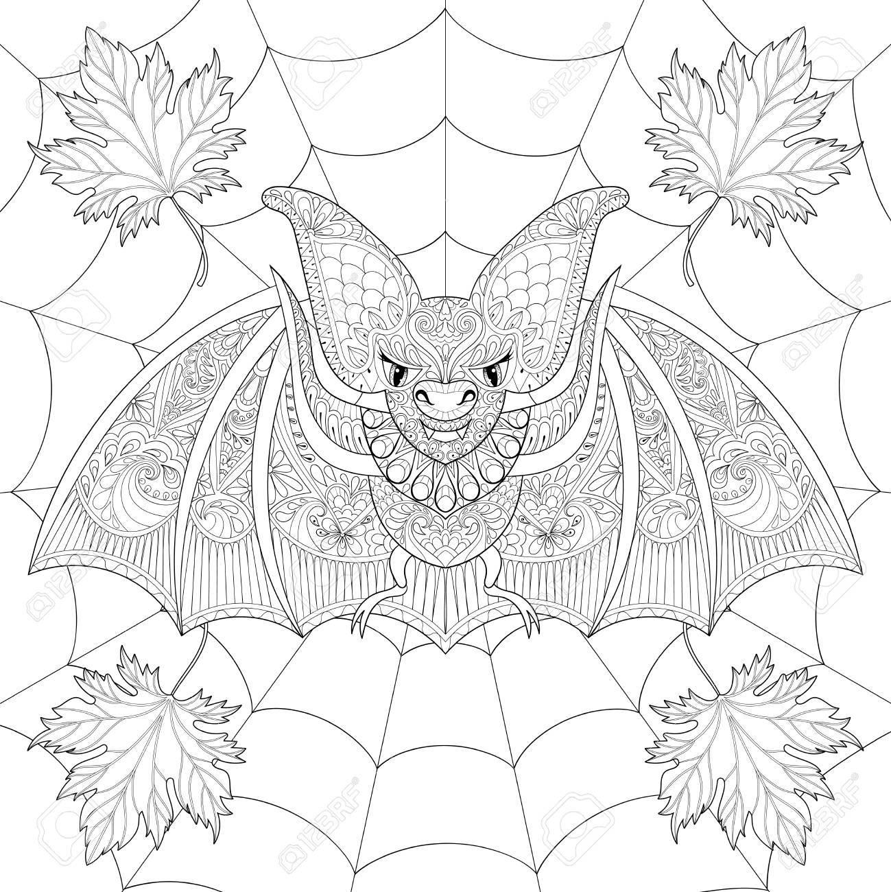 Stilisierte Fledermaus mit Herbst Blätter im Herbst auf Spinnennetz für  Halloween. Handskizze für Erwachsene Anti-Stress-Malvorlagen mit