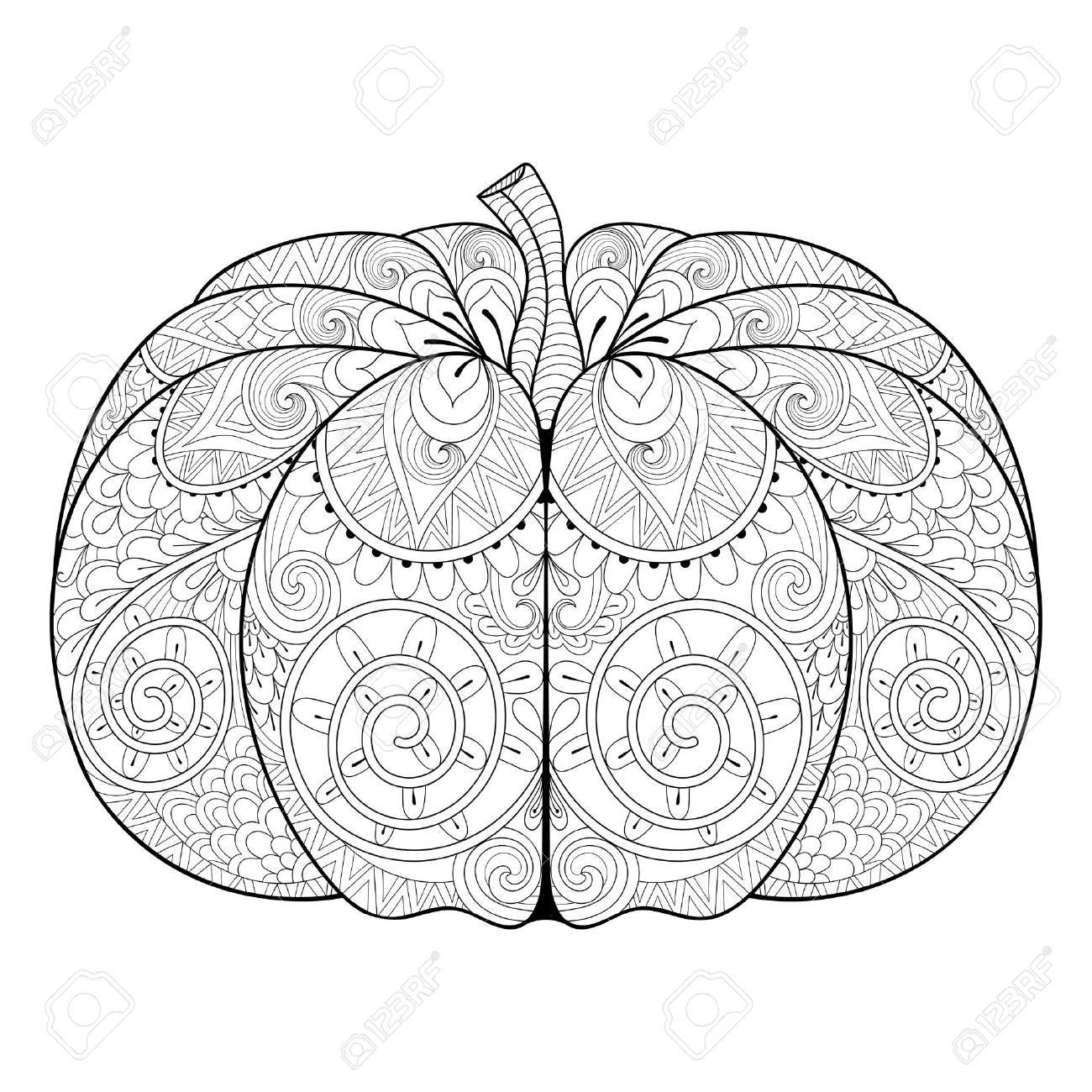 Stylized Autumn Pumpkin For Thanksgiving Day, Halloween. Freehand ...