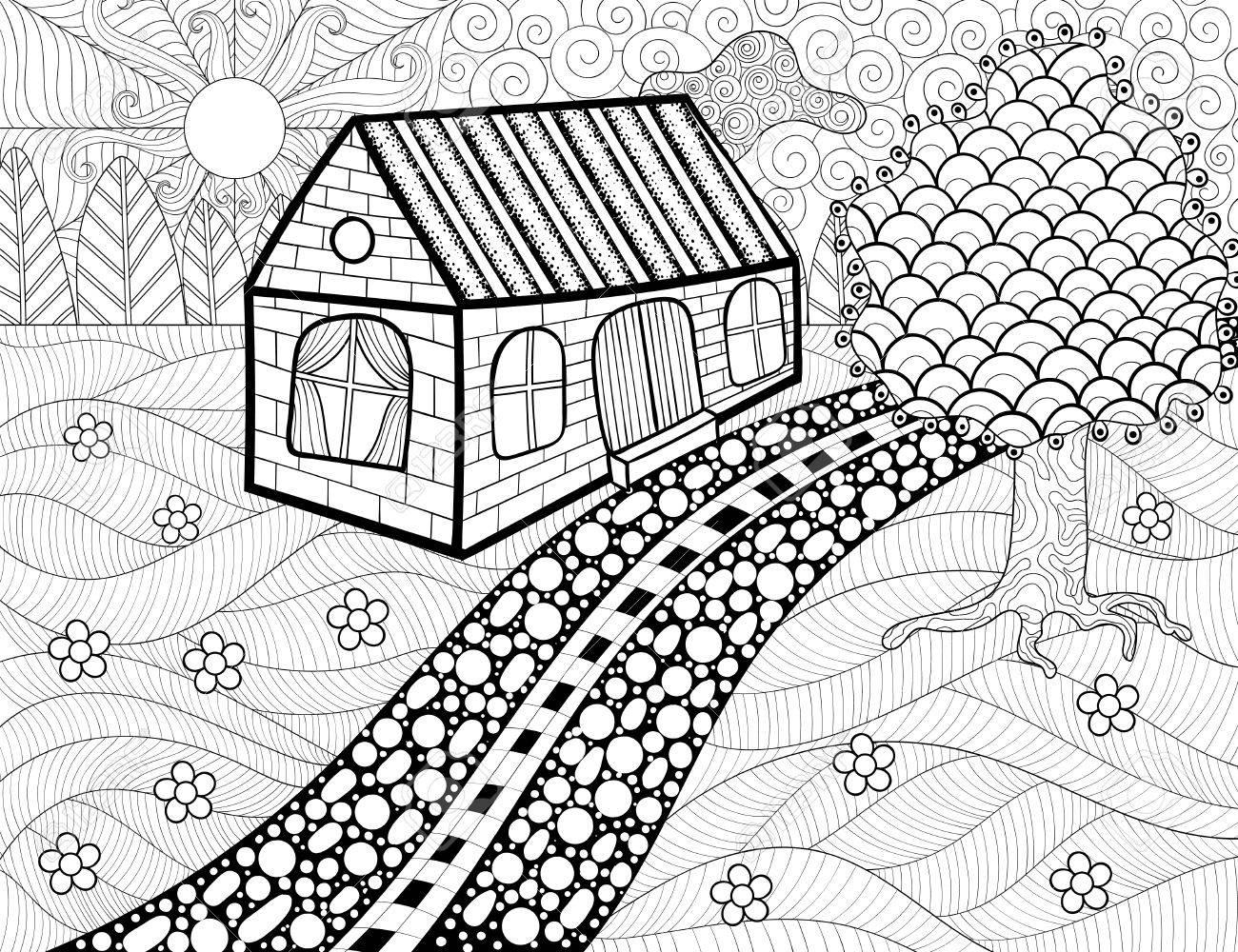 Paese Paesaggio Modellato Sfondo Per Il Libro Da Colorare Per Adulti