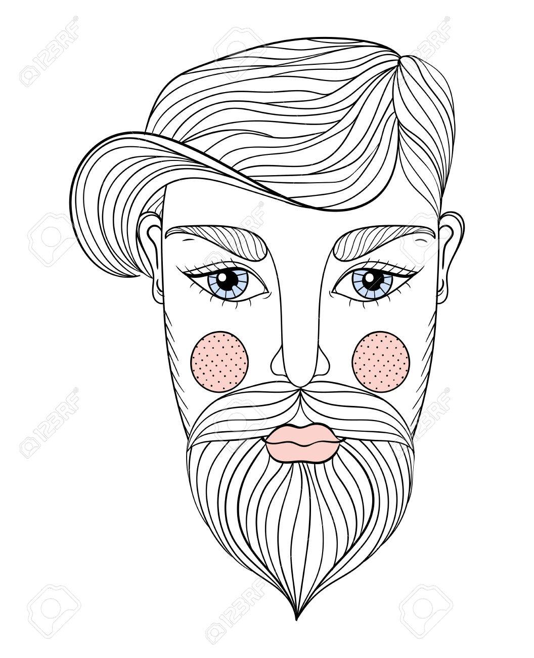 Vector vector portrait of man face with mustache and beard for adult coloring pages tattoo art ethnic patterned t shirt print