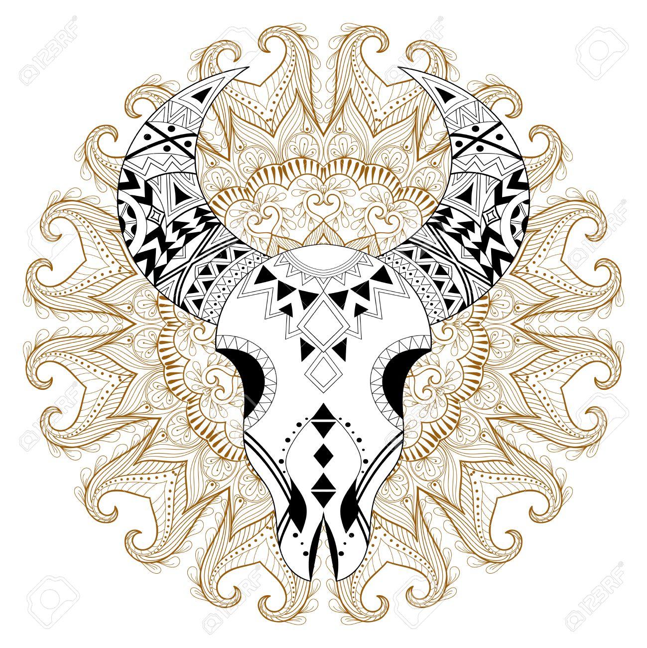 Cráneo Animal Estilizado En Mandala Gitana. A Mano Alzada ...