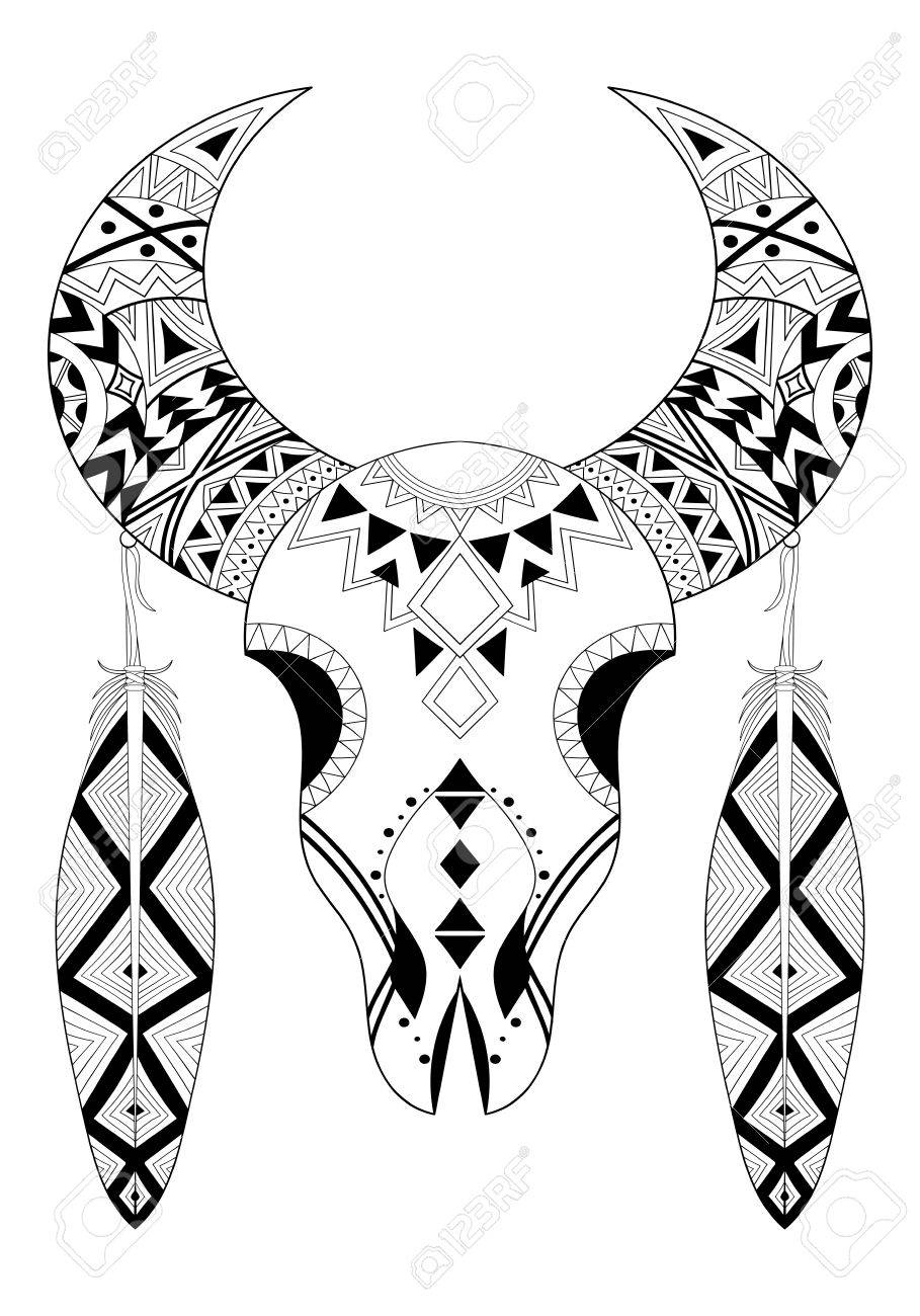 Animal Skull With Two Feathers Hand Drawn Ethnic Animal For