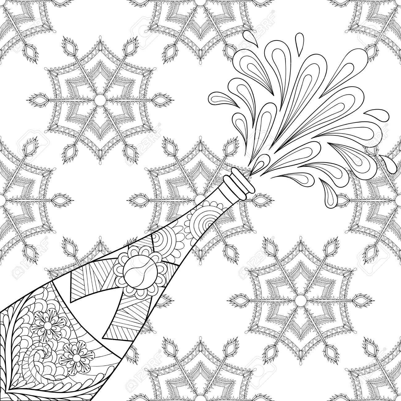 champagne explosion bottle on snowflakes zentangle style