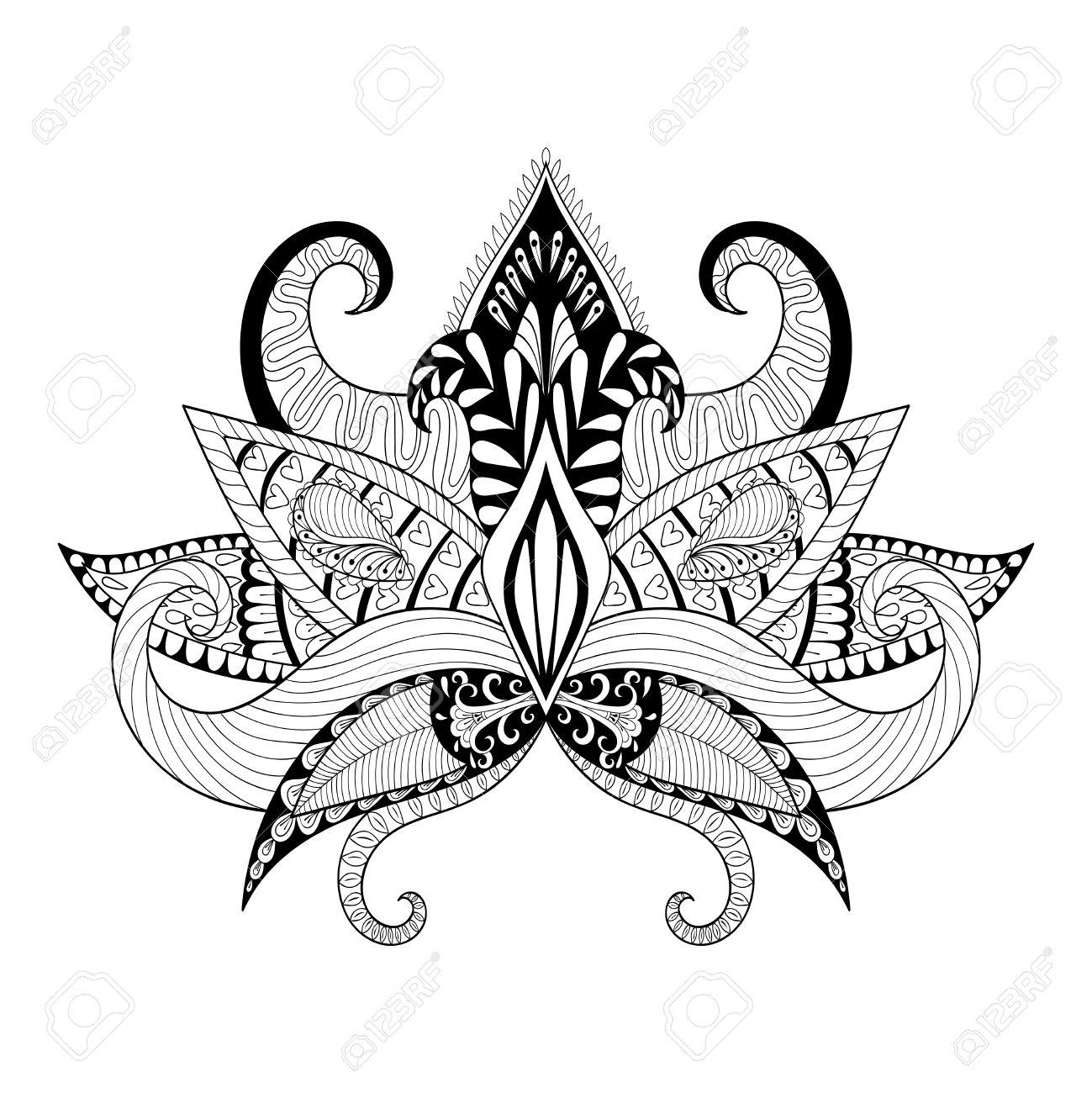 Boho ornamental lotus flower blackwork tattoo design indian boho ornamental lotus flower blackwork tattoo design indian paisley hand drawn vector illustration izmirmasajfo