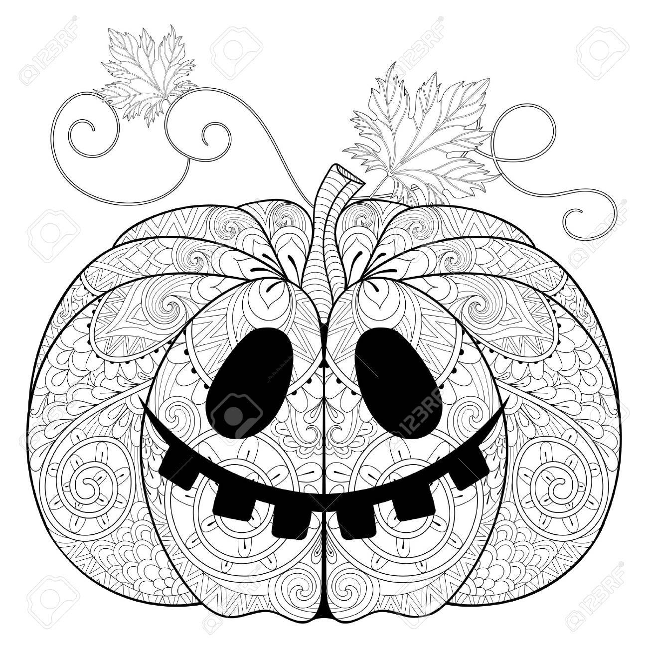 Stylized Pumpkin For Halloween, Thanksgiving Day With Artistically ...