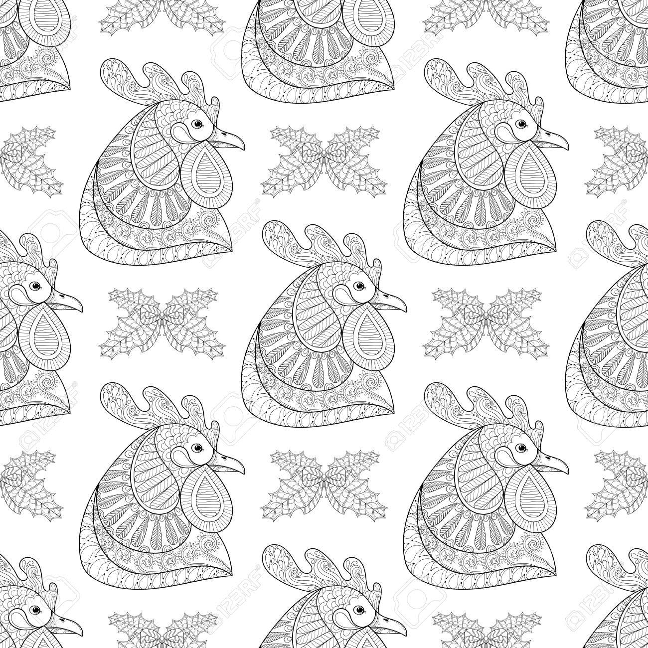 cartoon rooster with mistletoe seamless pattern hand drawn