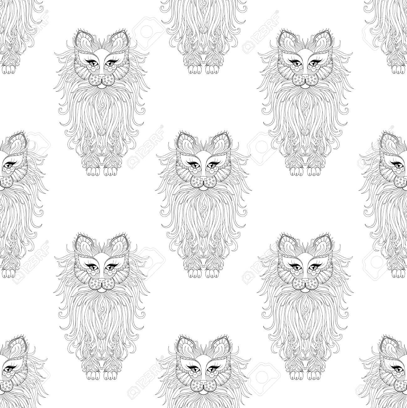 Fluffy Katze Nahtlose Muster, Stil. Handskizze Für Erwachsene ...