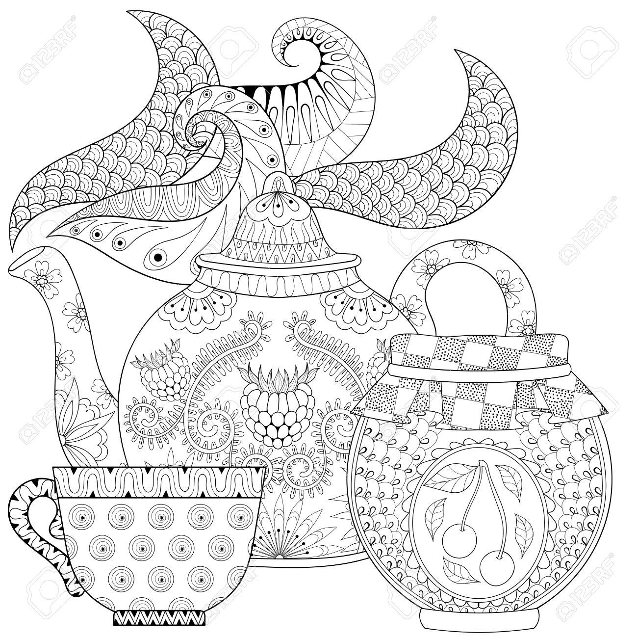 Stilisierte Zier Teekanne Mit Dampf, Tasse Tee, Glas Marmelade ...