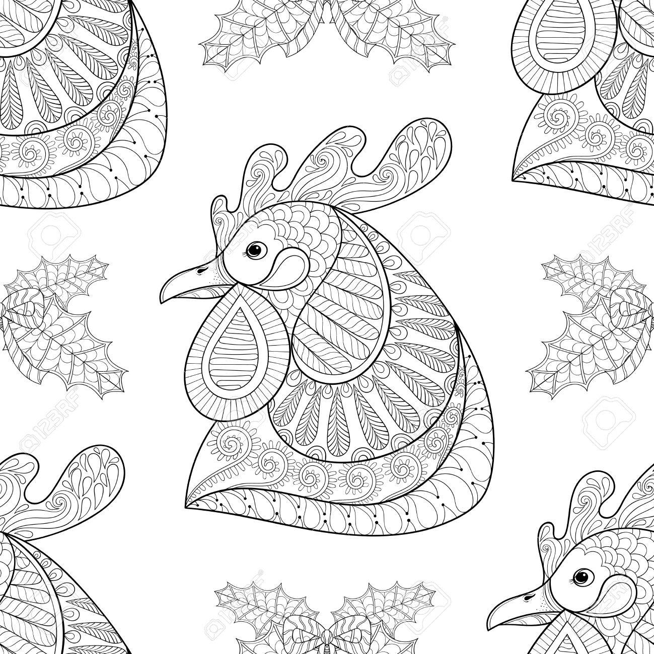 Cartoon Rooster With Mistletoe Seamless Pattern. Hand Drawn Sketch ...
