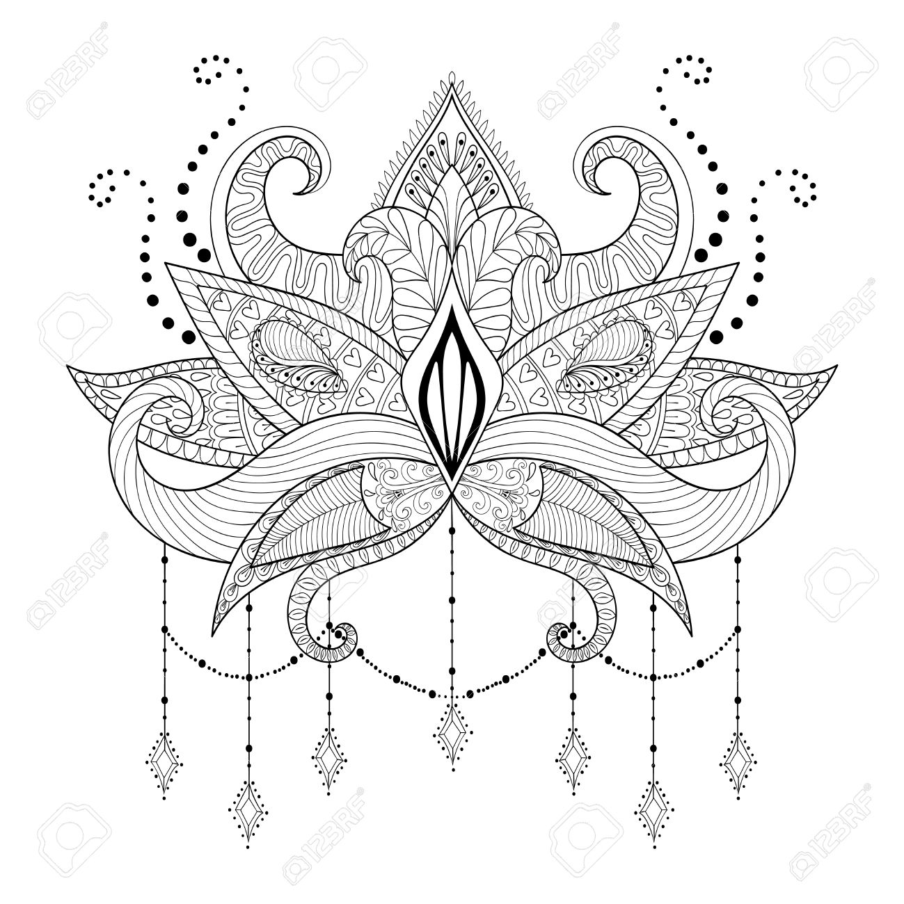 Boho doodle lotus flower blackwork tattoo design indian paisley boho doodle lotus flower blackwork tattoo design indian paisley hand drawn vector isolated mightylinksfo Gallery