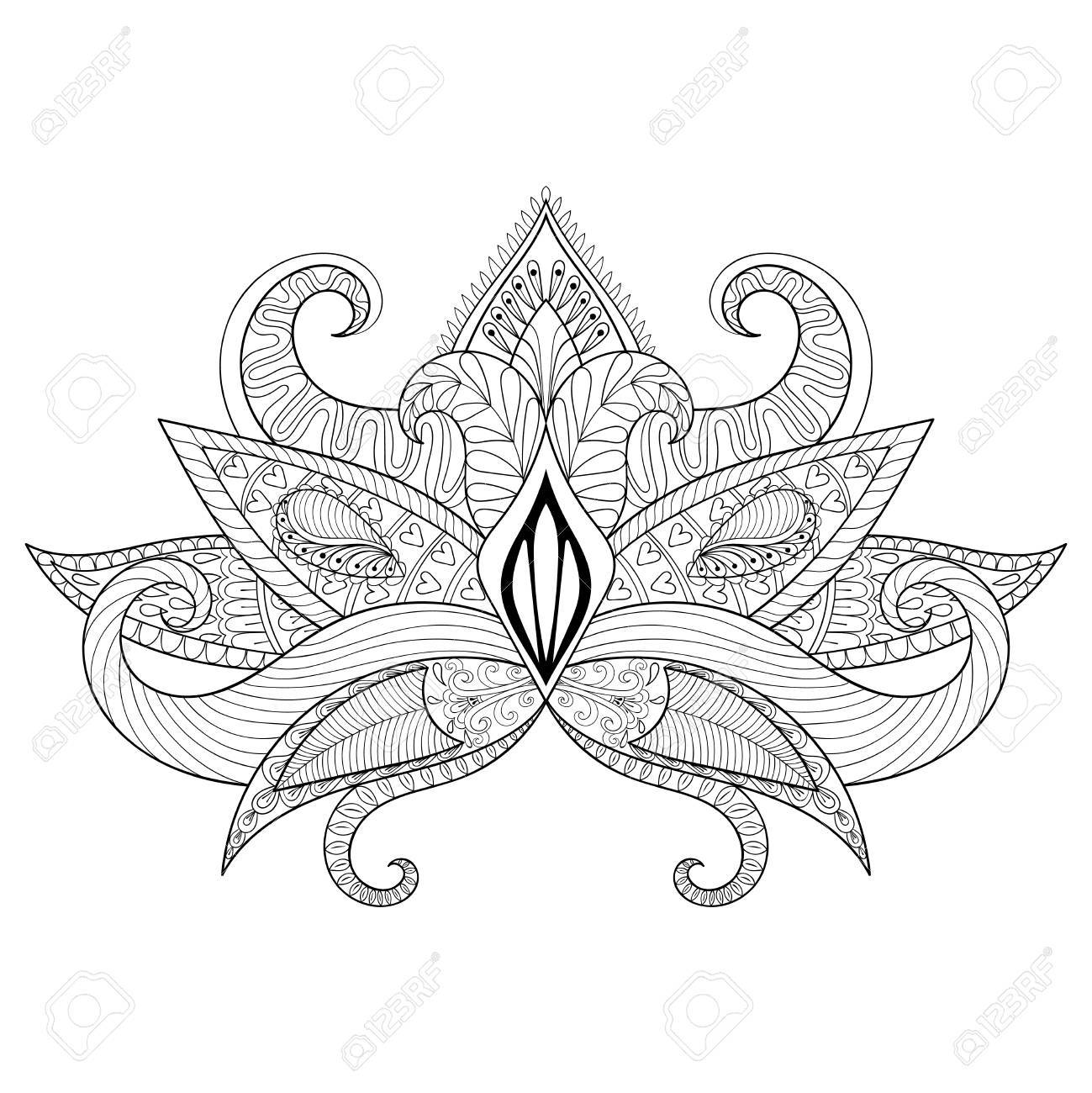Boho ornamental lotus flower blackwork tattoo design indian boho ornamental lotus flower blackwork tattoo design indian paisley hand drawn vector isolated mightylinksfo
