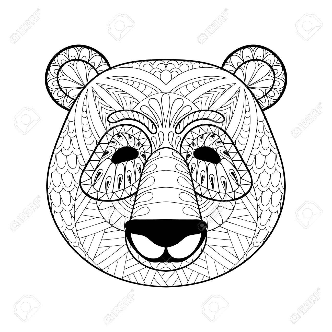 Head Of Panda In Style Freehand Sketch For Adult Antistress Coloring Page With Doodle Elements