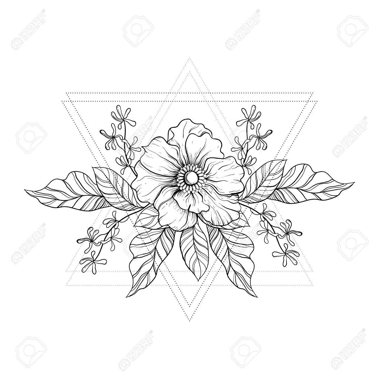 Hand Gezeichnet Boho Tätowierung. Blackwork Blume Im Hipster-Dreieck ...