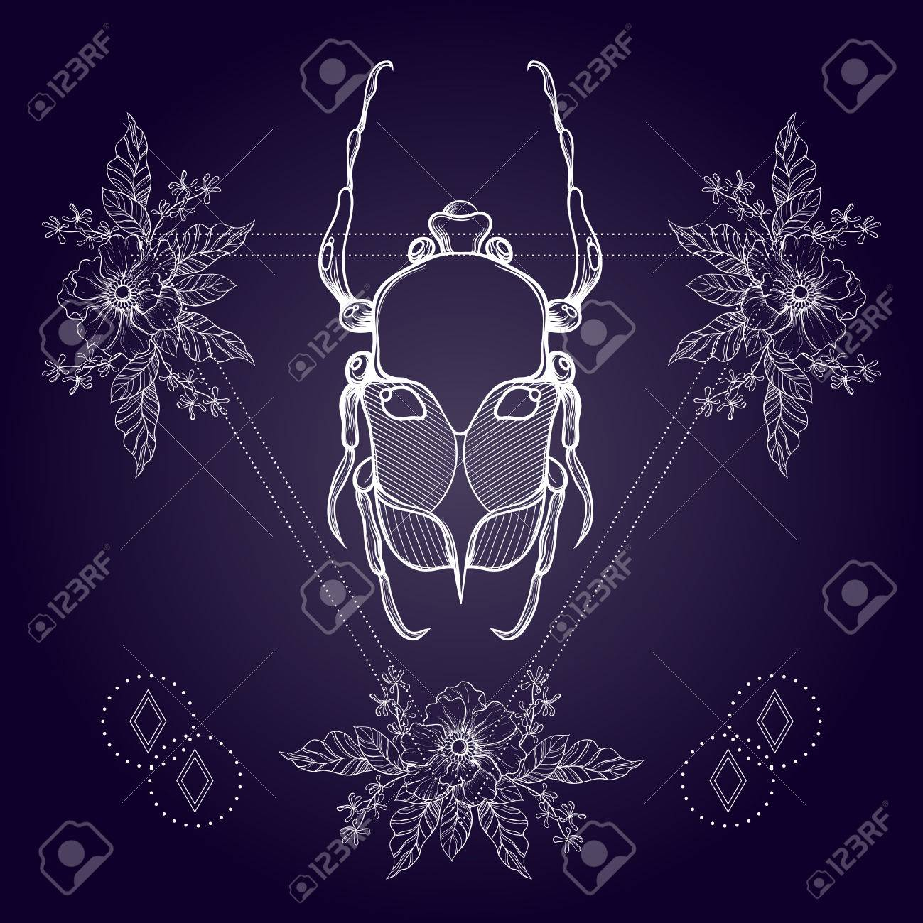 57f48585ff6ba Line art drawing. Boho tattoo. Blackwork beetle, May bug in hipster  triangle frame with flowers. Vector