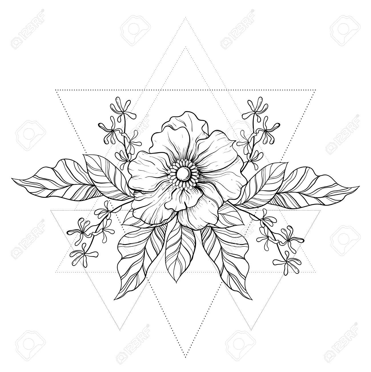 Dibujado A Mano Tatuaje Boho. Blackwork Flor En Marco Triángulos ...