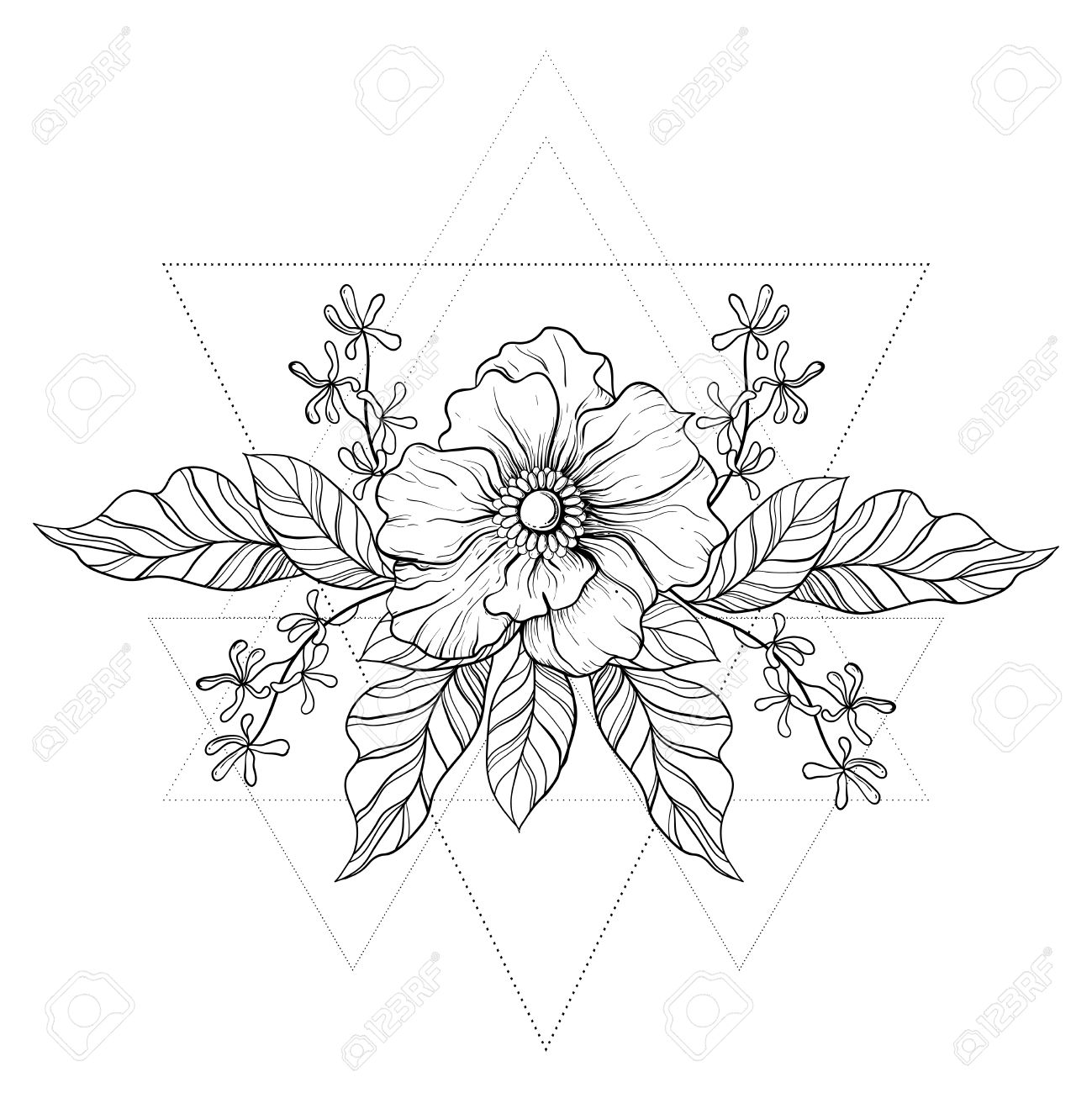 01e9aa5781eba Hand drawn boho tattoo. Blackwork flower in hipster triangles frame. Line  art drawing.