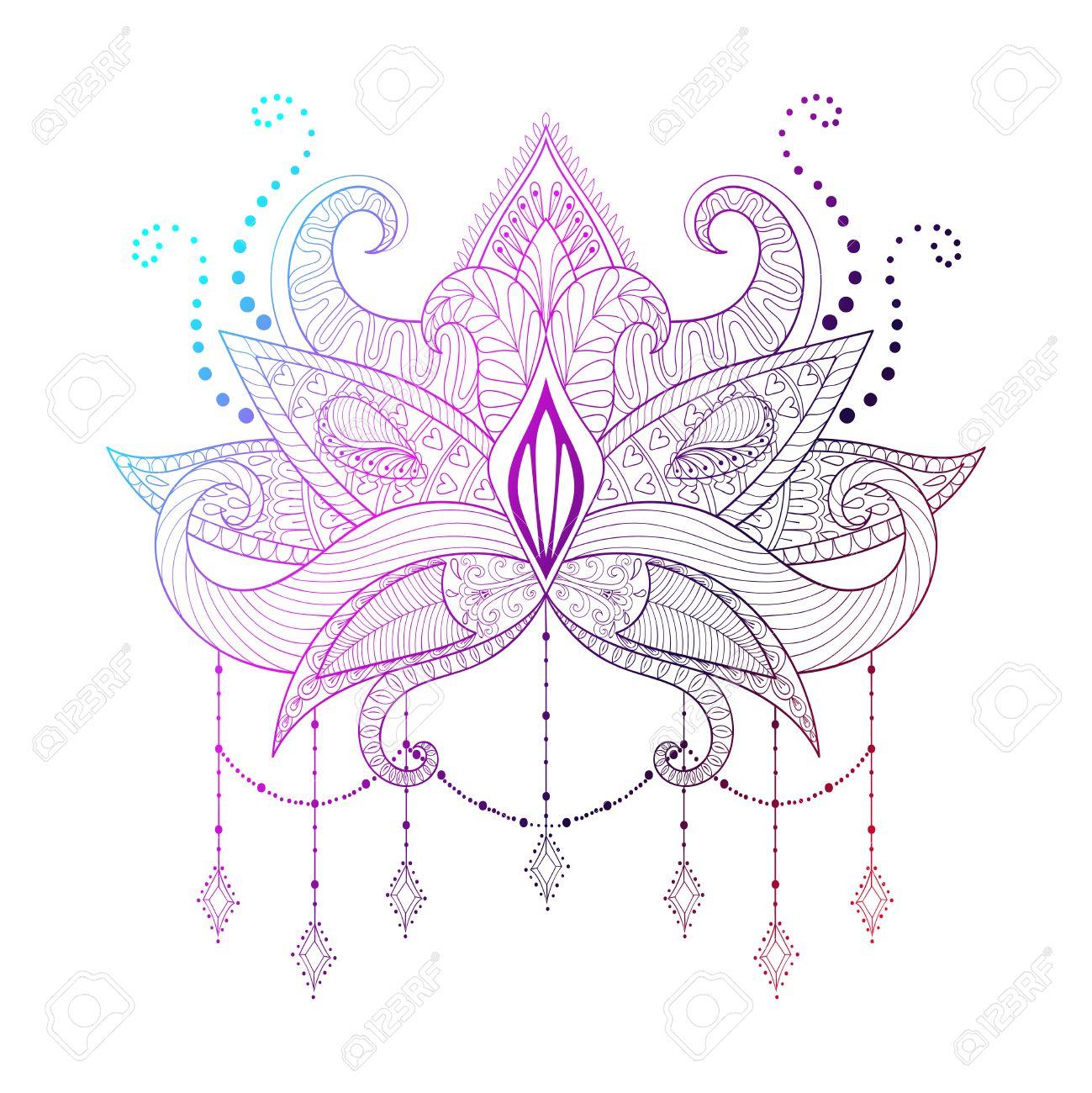 Boho Sier Kleur Lotusbloem Zwartwerk Tattoo Ontwerp Indian Paisley