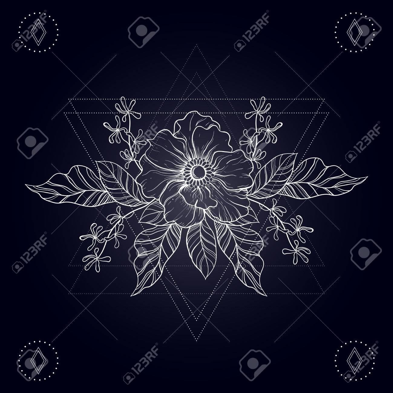 Tatouage Boho Dessine A La Main Croquis De Fleurs Dans Le Cadre De