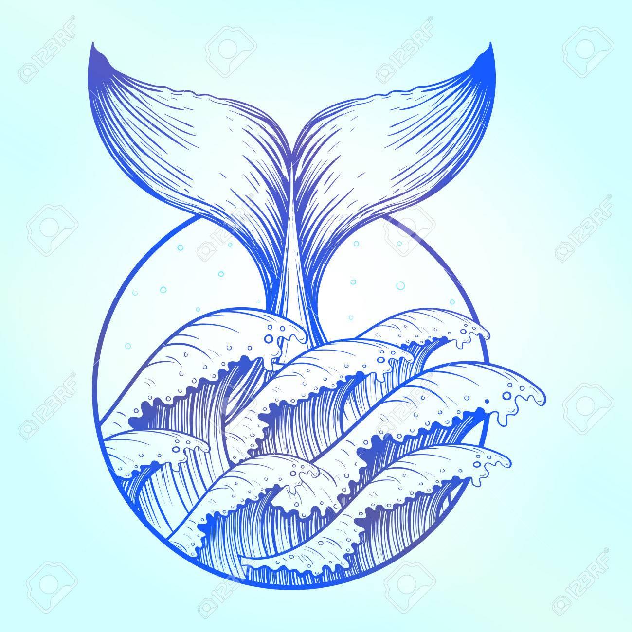 Cola De Ballena En El Mar Azul Boho Tatuaje Océano Línea Dibujo