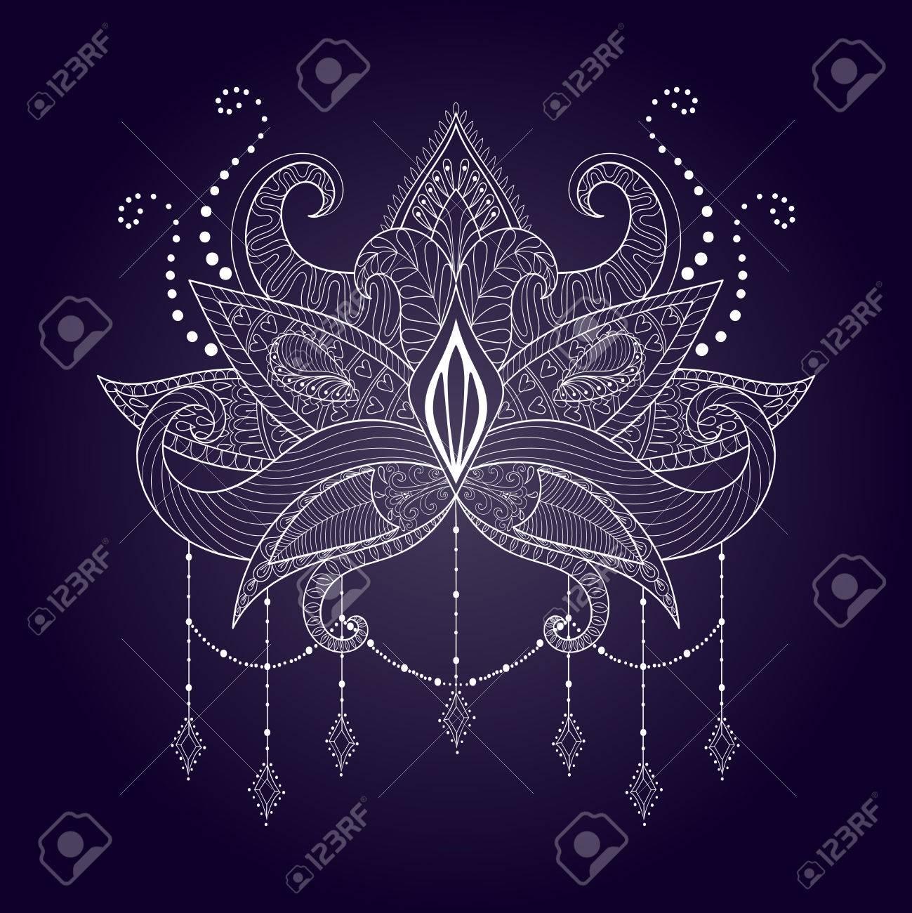 Boho Ornamental White Lotus Flower Blackwork Tattoo Design Indian