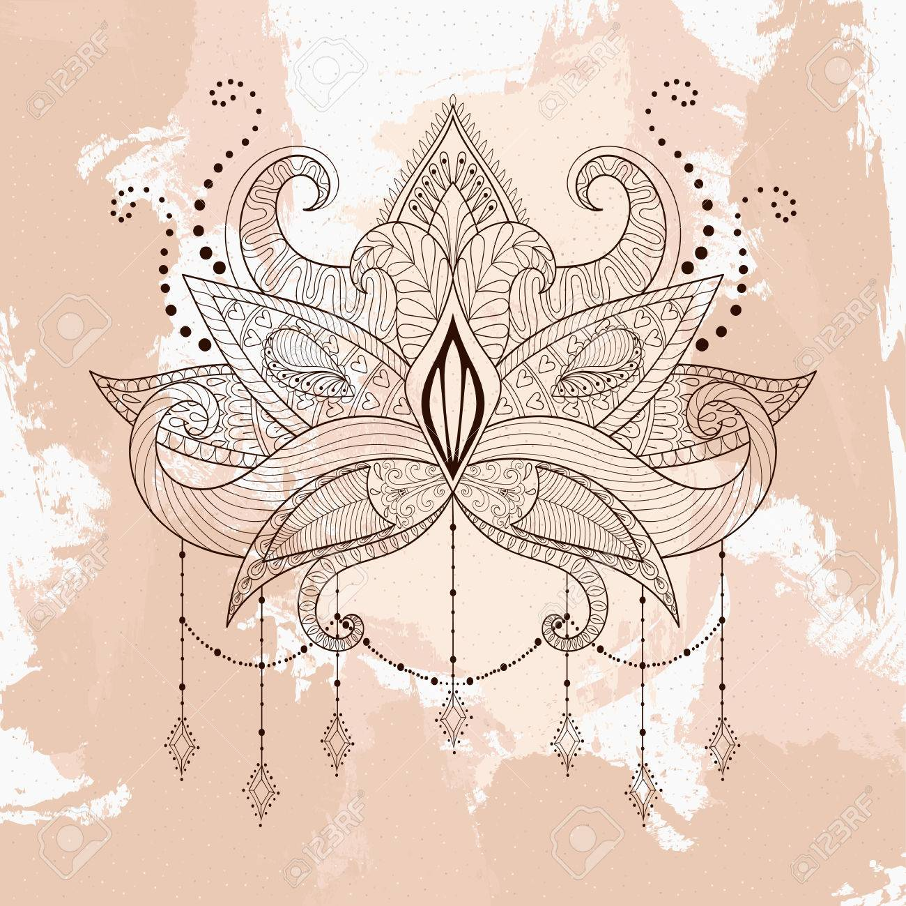 a18eab52a Boho ornamental lotus flower, henna tattoo design, Indian paisley. Hand drawn  Vector illustration