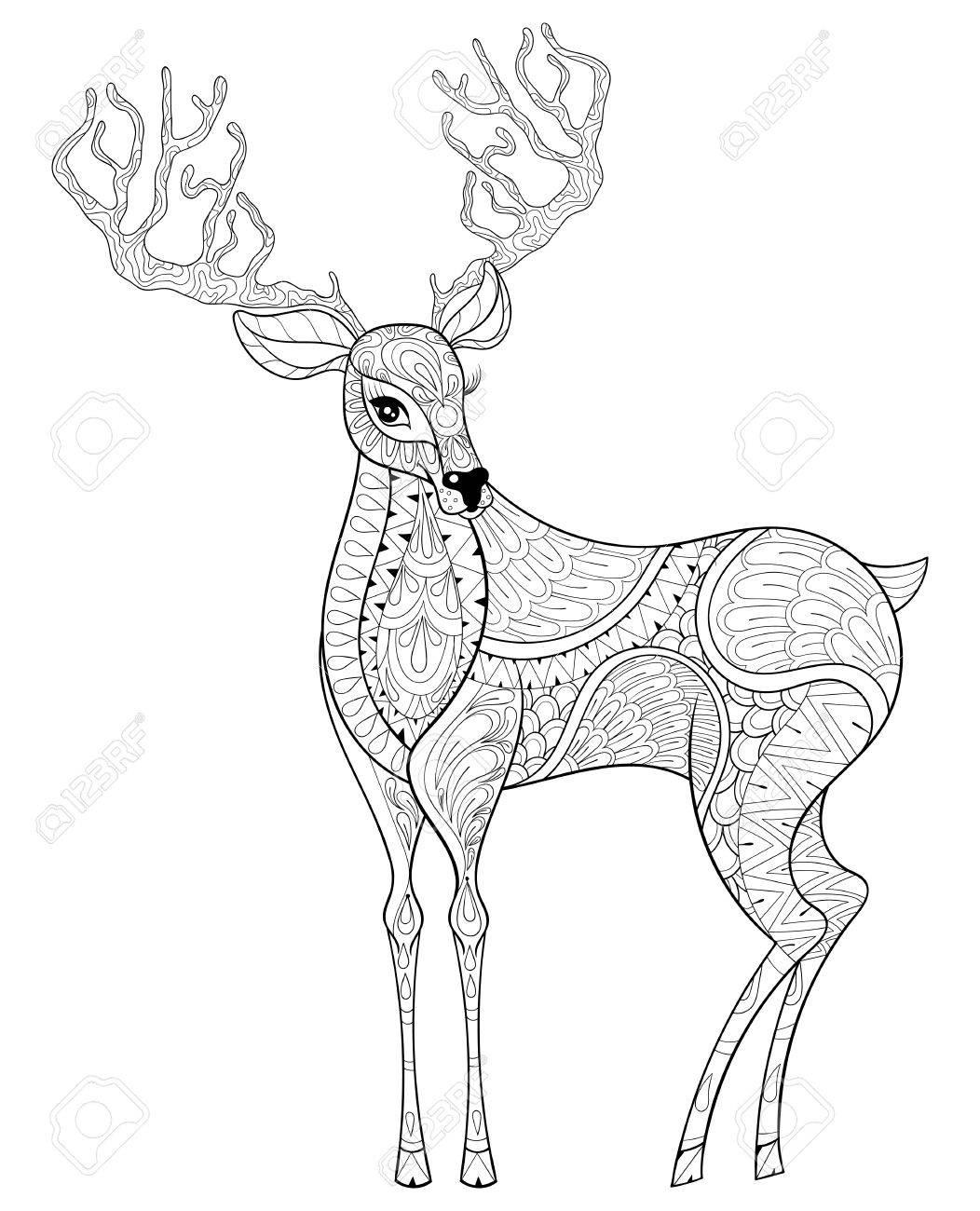 ベクター クリスマスのトナカイ、大人 antistress ぬり絵のツノのエルク。クリスマスのグリーティング カード、ポスター、招待状、2017  年新年の描かれたイラストを手します。A4 サイズ。Eps10。