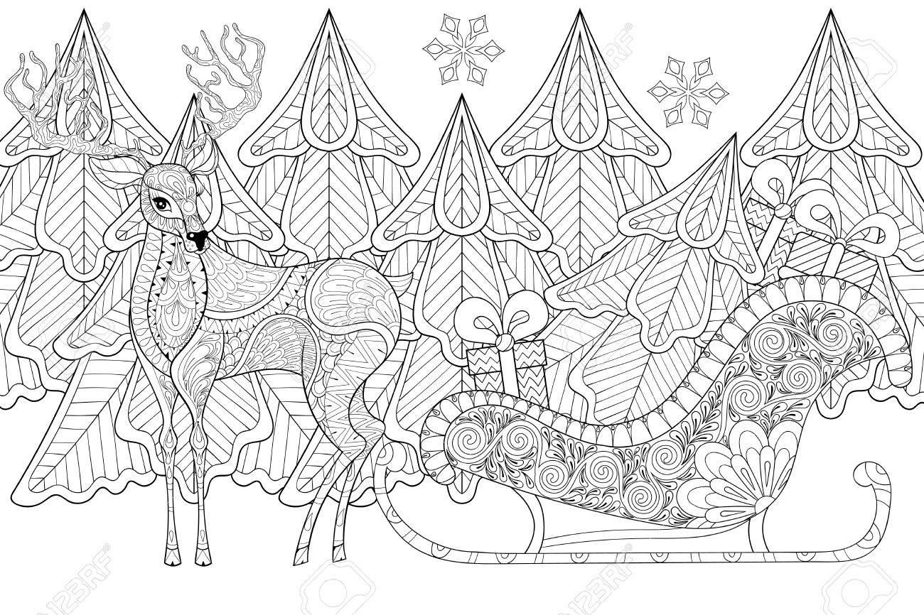 Reno Con El Trineo De Santa Con El árbol De Navidad, Regalos, Copos ...