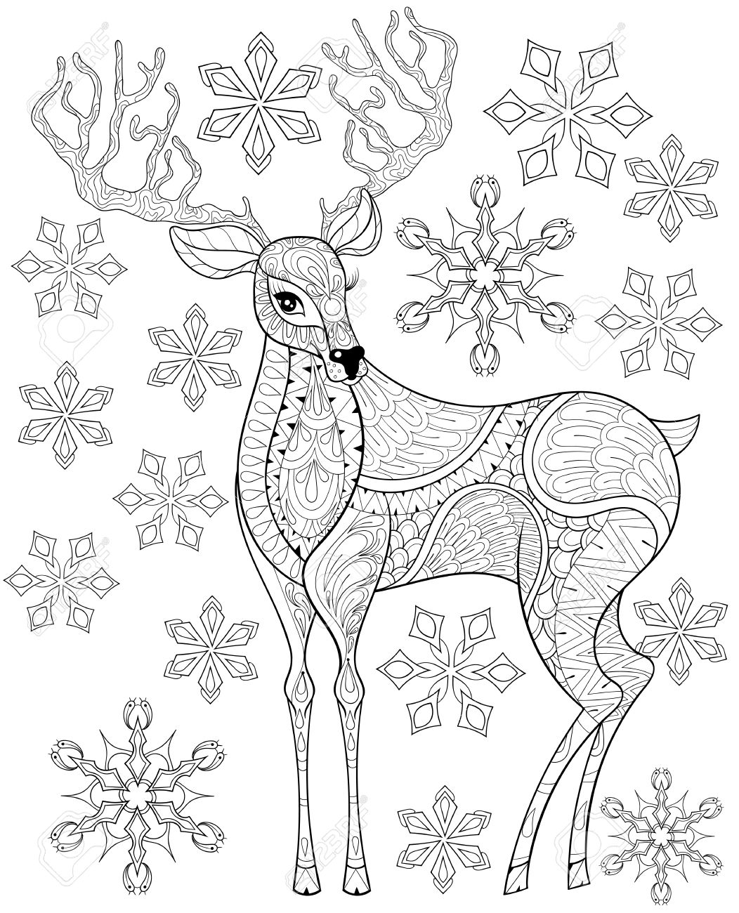 Vector Christmas Reindeer On Snowflakes For Adult Antistress ...