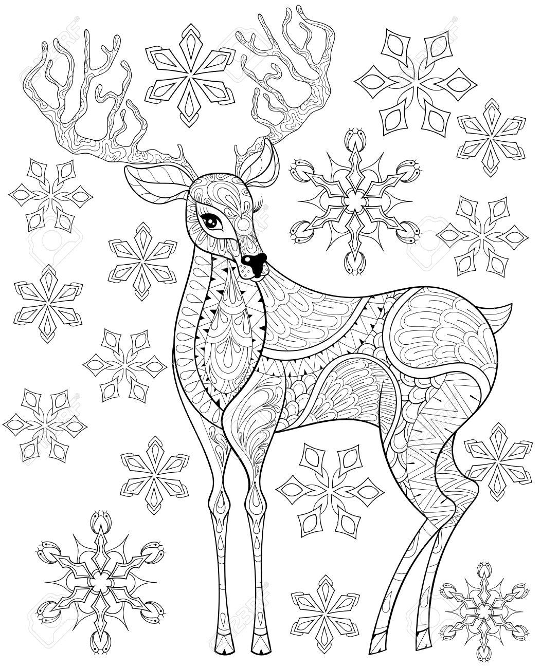 Vector De Renos De Navidad En Copos De Nieve Para Colorear Antiestrés Adultos Dibujado A Mano Ilustración Para El Año Nuevo 2017 Tarjetas De